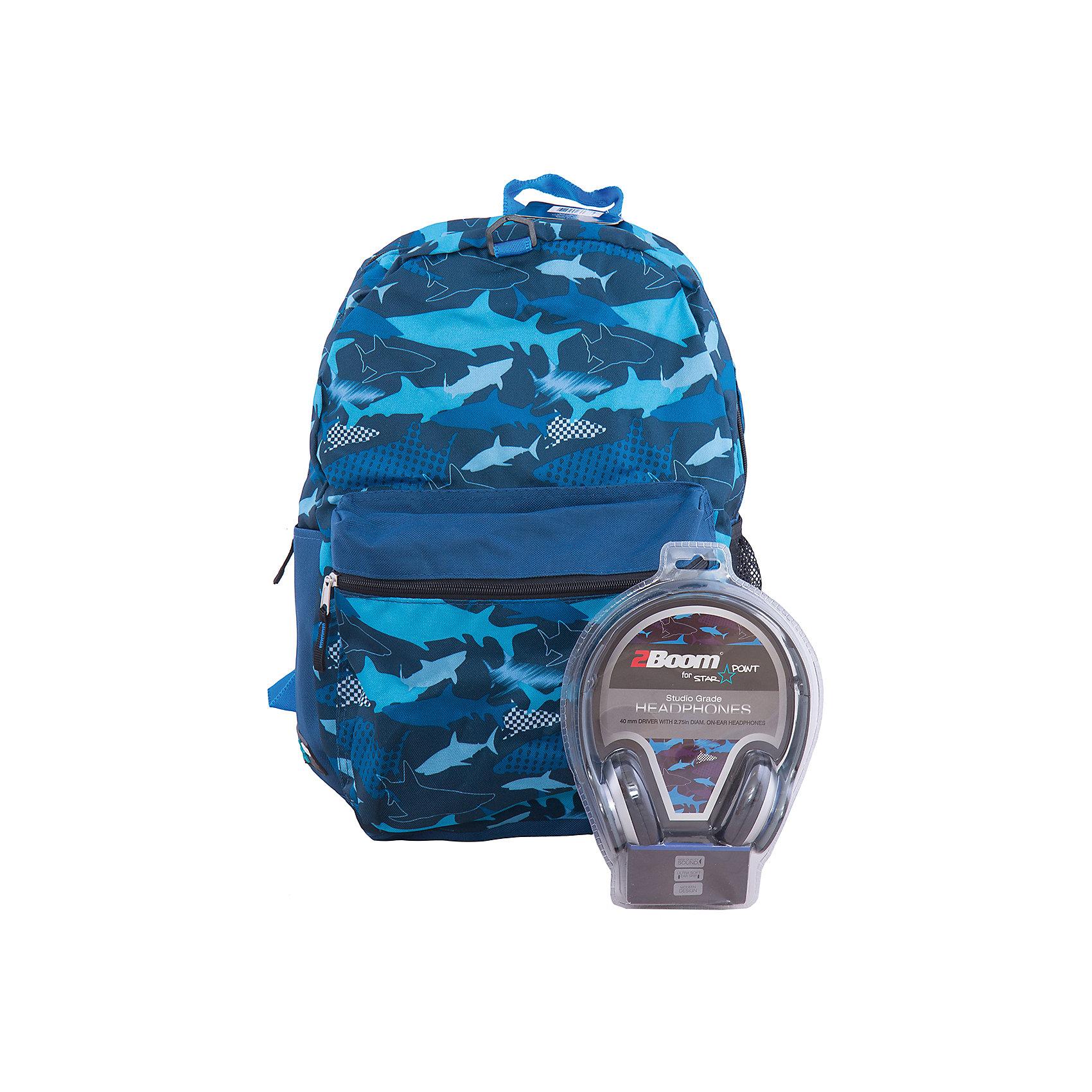 Рюкзак Sharks с наушниками, цвет синийРюкзаки<br>Универсальный рюкзак — для школы, спорта или просто для прогулки.<br>Мягкие регулируемые наплечные лямки.<br>Укрепленная спинка.<br><br>Ширина мм: 43<br>Глубина мм: 33<br>Высота мм: 16<br>Вес г: 700<br>Возраст от месяцев: 120<br>Возраст до месяцев: 420<br>Пол: Унисекс<br>Возраст: Детский<br>SKU: 5344339