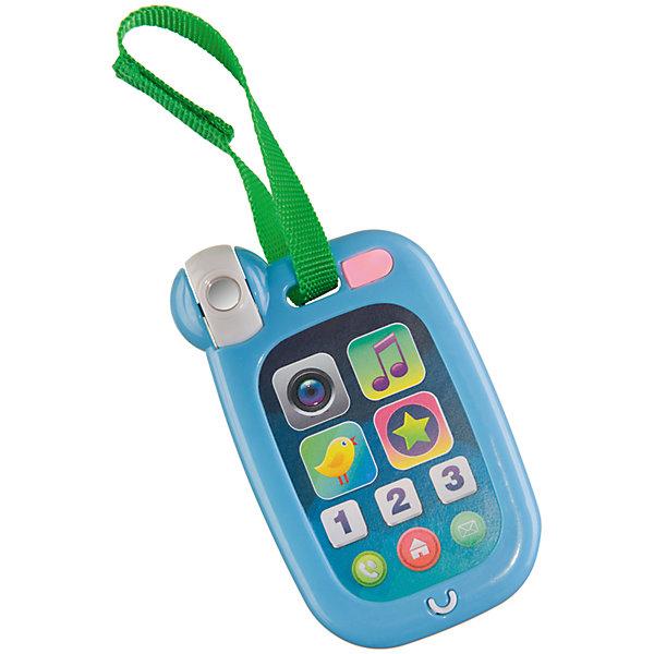 Развивающая игрушка HAPPYPHONE, Happy BabyДетские гаджеты<br>Характеристики товара:<br><br>• возраст: от 6 месяцев;<br>• материал: пластик;<br>• тип батареек: 2 батарейки АА;<br>• наличие батареек: в комплект не входят;<br>• размер упаковки: 23,5х13,5х1 см;<br>• вес упаковки: 100 гр.;<br>• страна производитель: Китай.<br><br>Развивающая игрушка «Happy Phone» Happy Baby — увлекательная развивающая игрушка для малышей в виде сотового телефона. Нажимая на кнопочки, малыш послушает забавные звуки, звуки животных и танцевальные мелодии. Нажав на одну из кнопочек, издается щелчок фотоаппарата.<br><br>В процессе игры у ребенка развиваются мелкая моторика рук, тактильные ощущения, цветовое восприятие, музыкальный слух, воображение. Ребенок учит цифры от 1 до 3 и обогащает свой словарный запас. Игрушка выполнена из качественного прочного пластика, безопасного для детей.<br><br>Развивающую игрушку «Happy Phone» Happy Baby можно приобрести в нашем интернет-магазине.<br>Ширина мм: 9999; Глубина мм: 9999; Высота мм: 9999; Вес г: 9999; Возраст от месяцев: 6; Возраст до месяцев: 36; Пол: Унисекс; Возраст: Детский; SKU: 5345694;