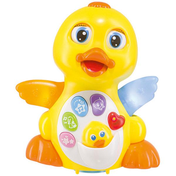 Музыкальная интерактивная игрушка Happy Baby «Quacky»Интерактивные игрушки для малышей<br>Характеристики товара:<br><br>• возраст: от 6 месяцев;<br>• материал: пластик;<br>• тип батареек: 3 батарейки АА;<br>• наличие батареек: в комплект не входят;<br>• размер упаковки: 19,5х19,5х13 см;<br>• вес упаковки: 400 гр.;<br>• страна производитель: Китай.<br><br>Игрушка музыкальная «Quacky» Happy Baby — развивающая игрушка для малышей, выполненная в виде желтой уточки. На груди уточки расположены кнопочки, нажимая на которые, уточка проигрывает веселые и забавные мелодии. Кнопка включения и регулировки звука расположены сзади.<br><br>Кроме музыкальной функции уточка также умеет передвигаться по поверхности и огибать препятствия. Во время движения она хлопает глазками, машет крыльями и открывает клюв. Игрушка способствует развитию мелкой моторики рук, координации движений, фантазии, музыкального слуха.<br><br>Игрушку музыкальную «Quacky» Happy Baby можно приобрести в нашем интернет-магазине.<br><br>Ширина мм: 13<br>Глубина мм: 195<br>Высота мм: 195<br>Вес г: 440<br>Возраст от месяцев: 6<br>Возраст до месяцев: 2147483647<br>Пол: Унисекс<br>Возраст: Детский<br>SKU: 5345698