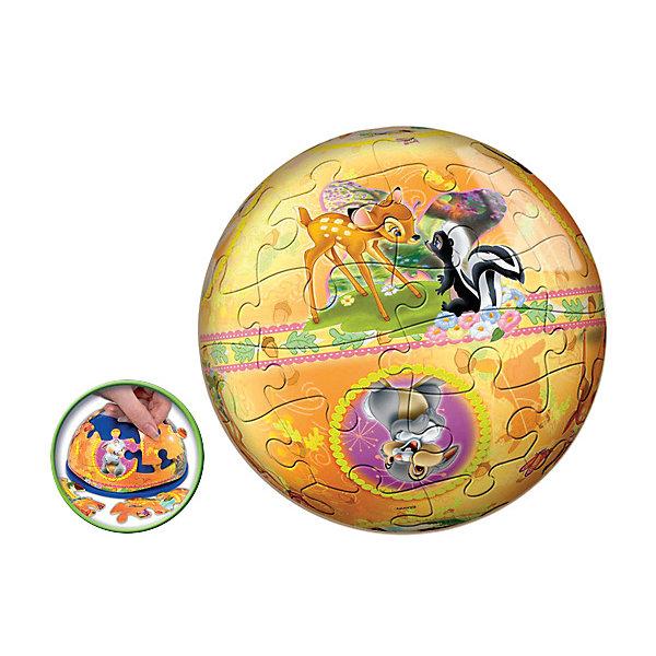 Пазл-шар Бемби, 24 детали, Disney3D пазлы<br>Характеристики товара:<br><br>• возраст: от 3 лет;<br>• материал: пластик;<br>• в комплекте: 24 элемента, подставка;<br>• диаметр шара: 12 см;<br>• размер упаковки: 20,5х18,5х6 см;<br>• вес упаковки: 380 гр.;<br>• страна производитель: Россия.<br><br>Пазл-шар «Бэмби» Disney Step Puzzle — оригинальный пазл, элементы которого имеют изогнутую форму и собираются вместе, образуя шар. Собрав его, получается объемная фигура с изображениями любимых героев мультфильма про олененка Бэмби.<br><br>В процессе сборки пазла развиваются мелкая моторика рук, усидчивость, внимательность, логическое мышление. Все детали выполнены из качественного прочного пластика и надежно скрепляются между собой.<br><br>Пазл-шар «Бэмби» Disney Step Puzzle можно приобрести в нашем интернет-магазине.<br>Ширина мм: 205; Глубина мм: 185; Высота мм: 60; Вес г: 380; Возраст от месяцев: 36; Возраст до месяцев: 2147483647; Пол: Унисекс; Возраст: Детский; Количество деталей: 24; SKU: 5346204;
