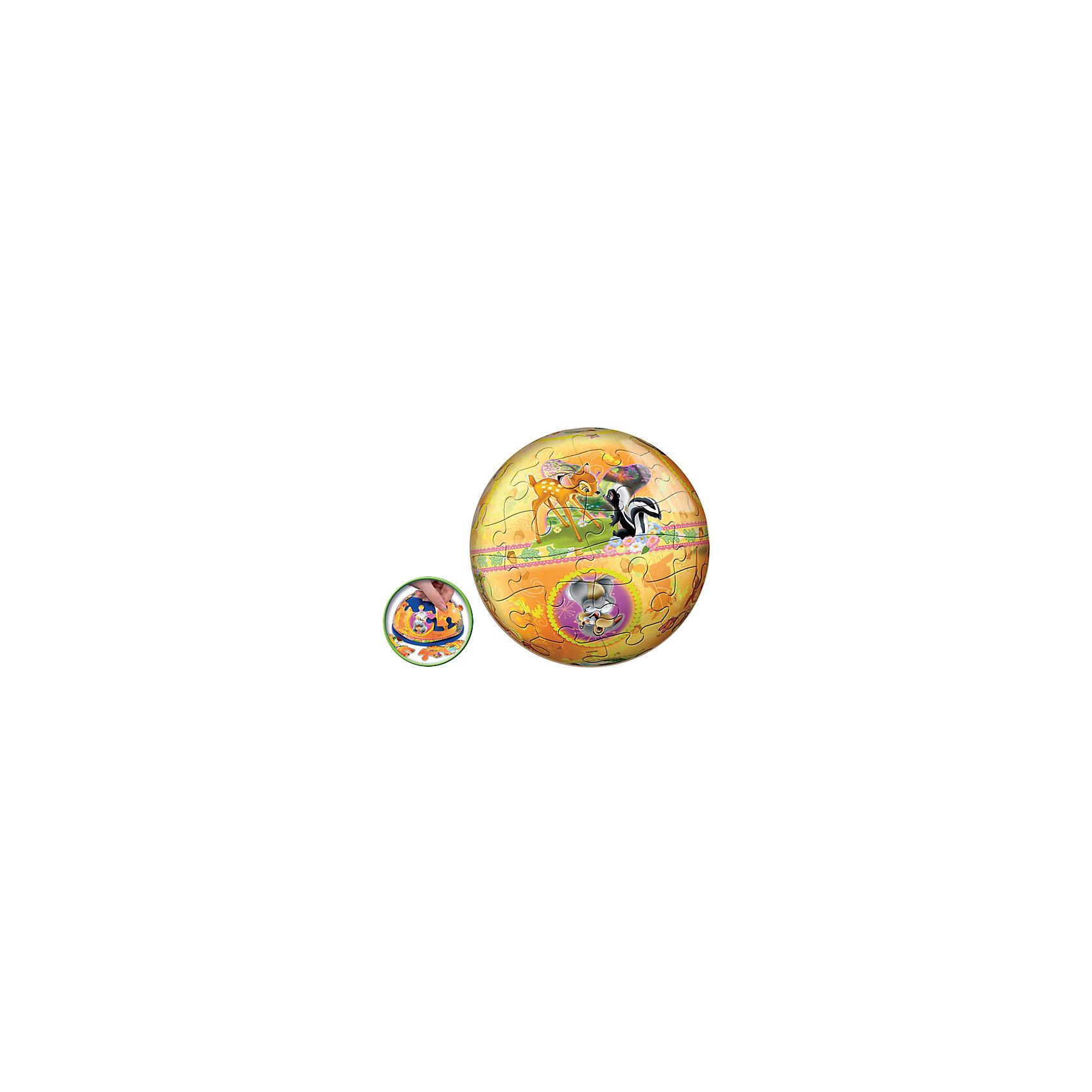 Пазл-шар Бемби, 24 детали, Disney3D пазлы<br>Характеристики товара:<br><br>• возраст: от 3 лет;<br>• материал: пластик;<br>• в комплекте: 24 элемента, подставка;<br>• диаметр шара: 12 см;<br>• размер упаковки: 20,5х18,5х6 см;<br>• вес упаковки: 380 гр.;<br>• страна производитель: Россия.<br><br>Пазл-шар «Бэмби» Disney Step Puzzle — оригинальный пазл, элементы которого имеют изогнутую форму и собираются вместе, образуя шар. Собрав его, получается объемная фигура с изображениями любимых героев мультфильма про олененка Бэмби.<br><br>В процессе сборки пазла развиваются мелкая моторика рук, усидчивость, внимательность, логическое мышление. Все детали выполнены из качественного прочного пластика и надежно скрепляются между собой.<br><br>Пазл-шар «Бэмби» Disney Step Puzzle можно приобрести в нашем интернет-магазине.<br><br>Ширина мм: 205<br>Глубина мм: 185<br>Высота мм: 60<br>Вес г: 380<br>Возраст от месяцев: 36<br>Возраст до месяцев: 2147483647<br>Пол: Унисекс<br>Возраст: Детский<br>Количество деталей: 24<br>SKU: 5346204