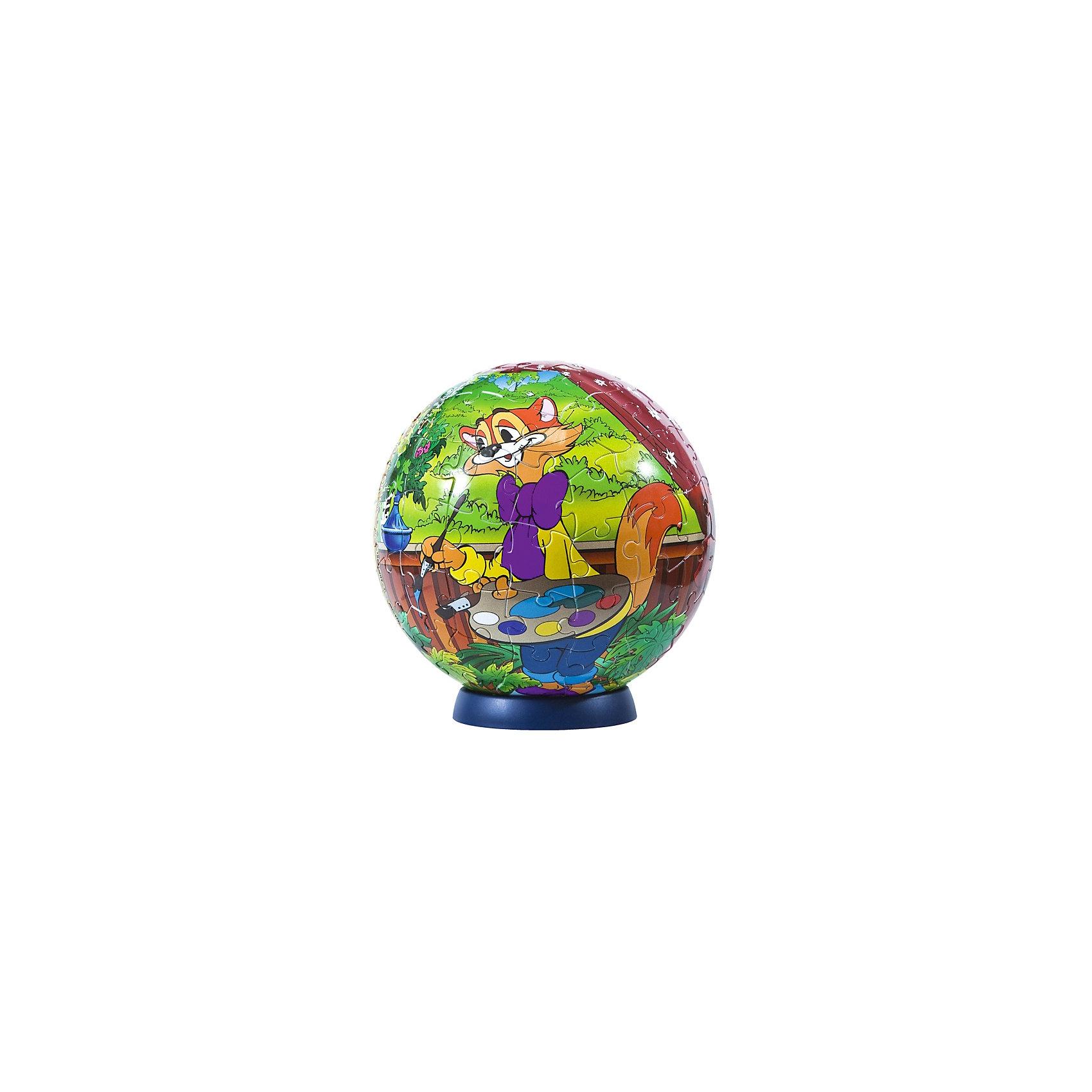 Пазл-шар  Кот Леопольд, 24 детали3D пазлы<br>Характеристики товара:<br><br>• возраст: от 3 лет;<br>• материал: пластик;<br>• в комплекте: 24 элемента, подставка;<br>• диаметр шара: 12 см;<br>• размер упаковки: 20,5х18,5х6 см;<br>• вес упаковки: 380 гр.;<br>• страна производитель: Россия.<br><br>Пазл-шар «Кот Леопольд» Союзмультфильм Step Puzzle — оригинальный пазл, элементы которого имеют изогнутую форму и собираются вместе, образуя шар. Собрав его, получается объемная фигура с изображениями персонажей мультфильма. <br><br>В процессе сборки пазла развиваются мелкая моторика рук, усидчивость, внимательность, логическое мышление. Все детали выполнены из качественного прочного пластика и надежно скрепляются между собой.<br><br>Пазл-шар «Кот Леопольд» Союзмультфильм Step Puzzle можно приобрести в нашем интернет-магазине.<br><br>Ширина мм: 205<br>Глубина мм: 185<br>Высота мм: 60<br>Вес г: 380<br>Возраст от месяцев: 36<br>Возраст до месяцев: 2147483647<br>Пол: Унисекс<br>Возраст: Детский<br>Количество деталей: 24<br>SKU: 5346210