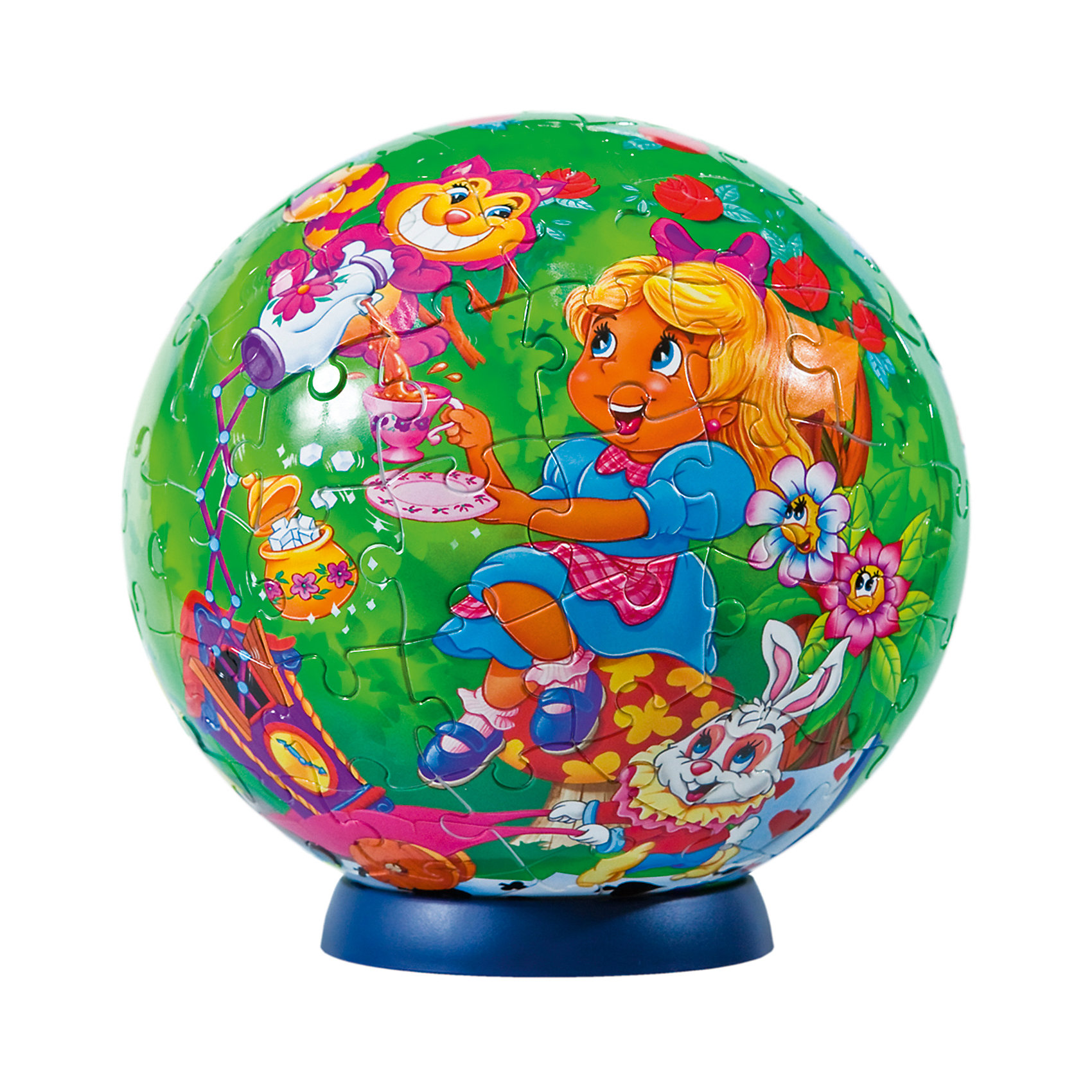 Пазл-шар Алиса в стране чудес, 108 деталей3D пазлы<br>Характеристики товара:<br><br>• возраст: от 6 лет;<br>• материал: пластик;<br>• в комплекте: 108 элементов, подставка;<br>• диаметр шара: 14 см;<br>• размер упаковки: 23х21,5х5 см;<br>• вес упаковки: 330 гр.;<br>• страна производитель: Россия.<br><br>Пазл-шар «Алиса в стране чудес» Step Puzzle — оригинальный пазл, элементы которого имеют изогнутую форму и собираются вместе, образуя шар. Собрав его, получается объемная фигура с изображениями персонажей сказки про Алису в стране чудес.<br><br>В процессе сборки пазла развиваются мелкая моторика рук, усидчивость, внимательность, логическое мышление. Все детали выполнены из качественного прочного пластика и надежно скрепляются между собой.<br><br>Пазл-шар «Алиса в стране чудес» Step Puzzle можно приобрести в нашем интернет-магазине.<br><br>Ширина мм: 230<br>Глубина мм: 215<br>Высота мм: 50<br>Вес г: 330<br>Возраст от месяцев: 72<br>Возраст до месяцев: 2147483647<br>Пол: Женский<br>Возраст: Детский<br>Количество деталей: 108<br>SKU: 5346216