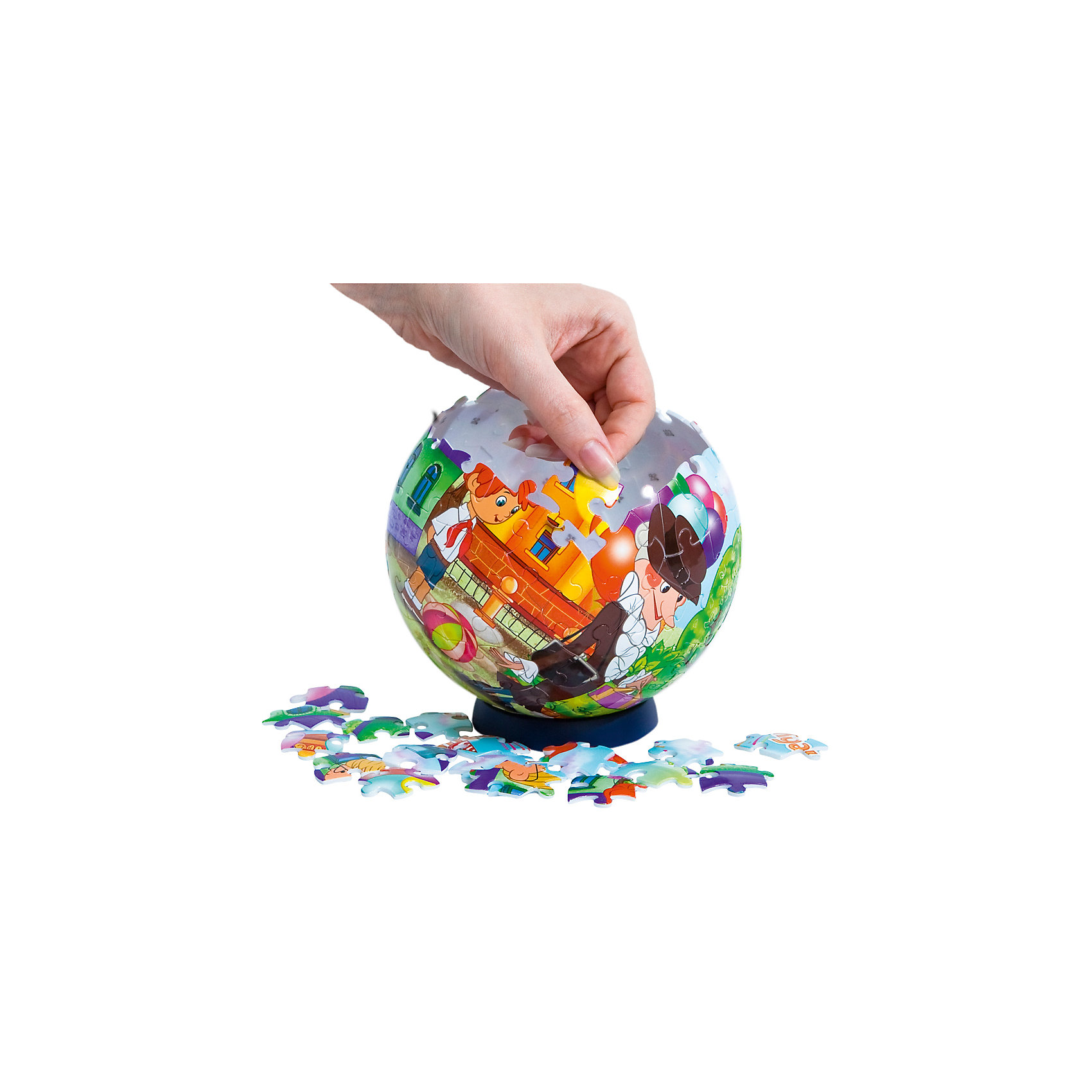 Пазл-шар Чебурашка, 108 деталейПазлы-шары<br>Характеристики товара:<br><br>• возраст: от 6 лет;<br>• материал: пластик;<br>• в комплекте: 108 элементов, подставка;<br>• диаметр шара: 14 см;<br>• размер упаковки: 23х21,5х5 см;<br>• вес упаковки: 330 гр.;<br>• страна производитель: Россия.<br><br>Пазл-шар «Чебурашка» Step Puzzle — оригинальный пазл, элементы которого имеют изогнутую форму и собираются вместе, образуя шар. Собрав его, получается объемная фигура с изображениями персонажей мультфильма.<br><br>В процессе сборки пазла развиваются мелкая моторика рук, усидчивость, внимательность, логическое мышление. Все детали выполнены из качественного прочного пластика и надежно скрепляются между собой.<br><br>Пазл-шар «Чебурашка» Step Puzzle можно приобрести в нашем интернет-магазине.<br><br>Ширина мм: 230<br>Глубина мм: 215<br>Высота мм: 50<br>Вес г: 330<br>Возраст от месяцев: 72<br>Возраст до месяцев: 2147483647<br>Пол: Унисекс<br>Возраст: Детский<br>Количество деталей: 108<br>SKU: 5346218