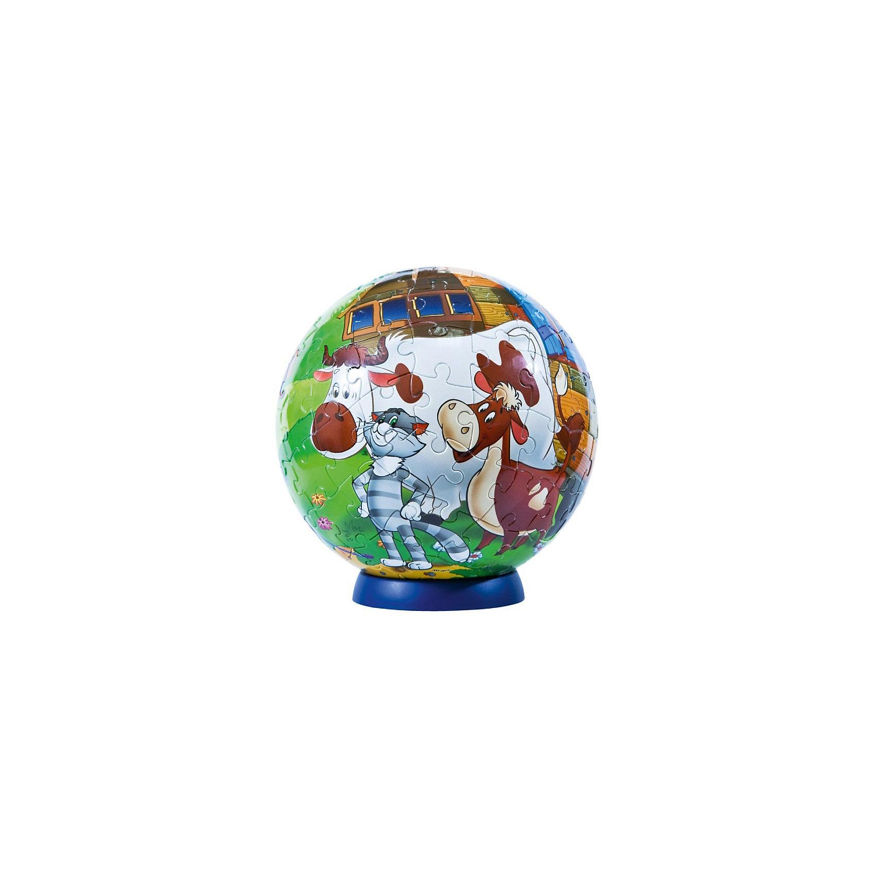 Пазл-шар Простоквашино, 108 деталей3D пазлы<br>Характеристики товара:<br><br>• возраст: от 6 лет;<br>• материал: пластик;<br>• в комплекте: 108 элементов, подставка;<br>• диаметр шара: 14 см;<br>• размер упаковки: 23х21,5х5 см;<br>• вес упаковки: 330 гр.;<br>• страна производитель: Россия.<br><br>Пазл-шар «Простоквашино» Step Puzzle — оригинальный пазл, элементы которого имеют изогнутую форму и собираются вместе, образуя шар. Собрав его, получается объемная фигура с изображениями персонажей мультфильма.<br><br>В процессе сборки пазла развиваются мелкая моторика рук, усидчивость, внимательность, логическое мышление. Все детали выполнены из качественного прочного пластика и надежно скрепляются между собой.<br><br>Пазл-шар «Простоквашино» Step Puzzle можно приобрести в нашем интернет-магазине.<br><br>Ширина мм: 230<br>Глубина мм: 215<br>Высота мм: 50<br>Вес г: 330<br>Возраст от месяцев: 72<br>Возраст до месяцев: 2147483647<br>Пол: Унисекс<br>Возраст: Детский<br>Количество деталей: 108<br>SKU: 5346229