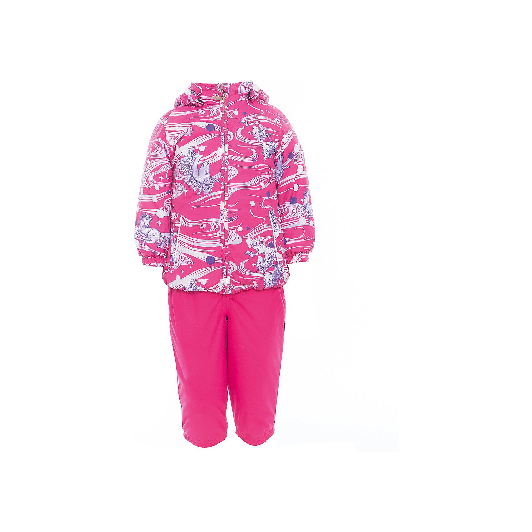Комплект: куртка и полукомбинезон для девочки CLARA HuppaВерхняя одежда<br>Характеристики товара:<br><br>• цвет: фуксия принт/фуксия<br>• комплектация: куртка и полукомбинезон <br>• ткань: 100% полиэстер<br>• подкладка: Coral-fleece смесь хлопка и полиэстера, в рукавах - тафта 100% полиэстер<br>• утеплитель: 100% полиэстер; куртка 100 г, полукомбинезон 40 г<br>• температурный режим: от -5°С до +10°С<br>• водонепроницаемость: верх - 5000 мм, низ - 10000 мм<br>• воздухопроницаемость: верх - 5000 мм, низ - 10000 мм<br>• светоотражающие детали<br>• шов сидения проклеен<br>• съёмный капюшон с резинкой<br>• эластичные манжеты на рукавах<br>• манжеты брюк с резинкой<br>• съёмные эластичные штрипки<br>• без внутренних швов<br>• резиновые подтяжки<br>• коллекция: весна-лето 2017<br>• страна бренда: Эстония<br><br>Такой модный демисезонный комплект  обеспечит детям тепло и комфорт. Он сделан из материала, отталкивающего воду, и дополнен подкладкой с утеплителем, поэтому изделие идеально подходит для межсезонья. Материал изделий - с мембранной технологией: защищая от влаги и ветра, он легко выводит лишнюю влагу наружу. Комплект очень симпатично смотрится. <br><br>Одежда и обувь от популярного эстонского бренда Huppa - отличный вариант одеть ребенка можно и комфортно. Вещи, выпускаемые компанией, качественные, продуманные и очень удобные. Для производства изделий используются только безопасные для детей материалы. Продукция от Huppa порадует и детей, и их родителей!<br><br>Комплект: куртка и полукомбинезон CLARA от бренда Huppa (Хуппа) можно купить в нашем интернет-магазине.<br><br>Ширина мм: 356<br>Глубина мм: 10<br>Высота мм: 245<br>Вес г: 519<br>Цвет: фиолетовый<br>Возраст от месяцев: 48<br>Возраст до месяцев: 60<br>Пол: Женский<br>Возраст: Детский<br>Размер: 110,80,86,92,98,104<br>SKU: 5346580