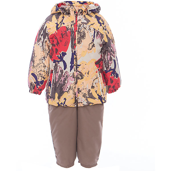 Комплект: куртка и полукомбинезон для девочки CLARA HuppaВерхняя одежда<br>Характеристики товара:<br><br>• цвет: золотой принт/бежевый<br>• комплектация: куртка и полукомбинезон <br>• ткань: 100% полиэстер<br>• подкладка: Coral-fleece смесь хлопка и полиэстера, в рукавах - тафта 100% полиэстер<br>• утеплитель: 100% полиэстер; куртка 100 г, полукомбинезон 40 г<br>• температурный режим: от -5°С до +10°С<br>• водонепроницаемость: верх - 5000 мм, низ - 10000 мм<br>• воздухопроницаемость: верх - 5000 мм, низ - 10000 мм<br>• светоотражающие детали<br>• шов сидения проклеен<br>• съёмный капюшон с резинкой<br>• эластичные манжеты на рукавах<br>• манжеты брюк с резинкой<br>• съёмные эластичные штрипки<br>• без внутренних швов<br>• резиновые подтяжки<br>• коллекция: весна-лето 2017<br>• страна бренда: Эстония<br><br>Такой модный демисезонный комплект  обеспечит детям тепло и комфорт. Он сделан из материала, отталкивающего воду, и дополнен подкладкой с утеплителем, поэтому изделие идеально подходит для межсезонья. Материал изделий - с мембранной технологией: защищая от влаги и ветра, он легко выводит лишнюю влагу наружу. Комплект очень симпатично смотрится. <br><br>Одежда и обувь от популярного эстонского бренда Huppa - отличный вариант одеть ребенка можно и комфортно. Вещи, выпускаемые компанией, качественные, продуманные и очень удобные. Для производства изделий используются только безопасные для детей материалы. Продукция от Huppa порадует и детей, и их родителей!<br><br>Комплект: куртка и полукомбинезон CLARA от бренда Huppa (Хуппа) можно купить в нашем интернет-магазине.<br>Ширина мм: 356; Глубина мм: 10; Высота мм: 245; Вес г: 519; Цвет: желтый; Возраст от месяцев: 12; Возраст до месяцев: 15; Пол: Женский; Возраст: Детский; Размер: 80,110,104,98,92,86; SKU: 5346601;