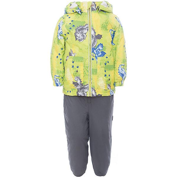 Комплект: куртка и полукомбинезон для мальчика CARLO HuppaВерхняя одежда<br>Характеристики товара:<br><br>• цвет: лайм принт/серый<br>• комплектация: куртка и полукомбинезон <br>• ткань: 100% полиэстер<br>• подкладка: тафта - 100% полиэстер<br>• утеплитель: 100% полиэстер; куртка 100 г, полукомбинезон 40 г<br>• температурный режим: от -5°С до +10°С<br>• водонепроницаемость: верх - 5000 мм, низ - 10000 мм<br>• воздухопроницаемость: верх - 5000 мм, низ - 10000 мм<br>• светоотражающие детали<br>• шов сидения проклеен<br>• съёмный капюшон с резинкой<br>• эластичные манжеты на рукавах<br>• манжеты брюк с резинкой<br>• съёмные эластичные штрипки<br>• без внутренних швов<br>• резиновые подтяжки<br>• коллекция: весна-лето 2017<br>• страна бренда: Эстония<br><br>Такой модный демисезонный комплект  обеспечит детям тепло и комфорт. Он сделан из материала, отталкивающего воду, и дополнен подкладкой с утеплителем, поэтому изделие идеально подходит для межсезонья. Материал изделий - с мембранной технологией: защищая от влаги и ветра, он легко выводит лишнюю влагу наружу. Комплект очень симпатично смотрится. <br><br>Одежда и обувь от популярного эстонского бренда Huppa - отличный вариант одеть ребенка можно и комфортно. Вещи, выпускаемые компанией, качественные, продуманные и очень удобные. Для производства изделий используются только безопасные для детей материалы. Продукция от Huppa порадует и детей, и их родителей!<br><br>Комплект: куртка и полукомбинезон для мальчика CARLO от бренда Huppa (Хуппа) можно купить в нашем интернет-магазине.<br>Ширина мм: 356; Глубина мм: 10; Высота мм: 245; Вес г: 519; Цвет: зеленый; Возраст от месяцев: 12; Возраст до месяцев: 15; Пол: Мужской; Возраст: Детский; Размер: 80,110,104,98,92,86; SKU: 5346704;