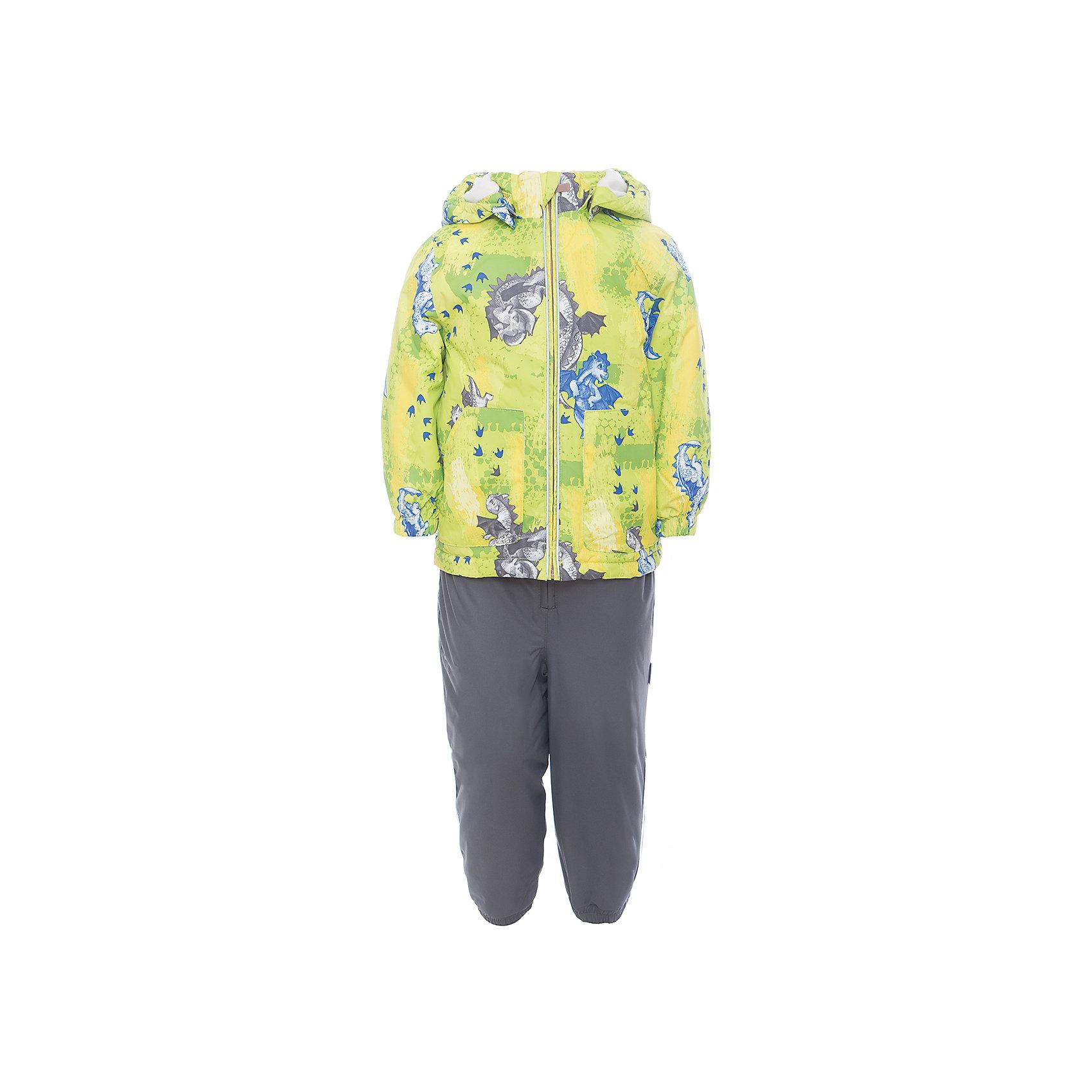 Комплект: куртка и полукомбинезон для мальчика CARLO HuppaКомплекты<br>Характеристики товара:<br><br>• цвет: лайм принт/серый<br>• комплектация: куртка и полукомбинезон <br>• ткань: 100% полиэстер<br>• подкладка: тафта - 100% полиэстер<br>• утеплитель: 100% полиэстер; куртка 100 г, полукомбинезон 40 г<br>• температурный режим: от -5°С до +10°С<br>• водонепроницаемость: верх - 5000 мм, низ - 10000 мм<br>• воздухопроницаемость: верх - 5000 мм, низ - 10000 мм<br>• светоотражающие детали<br>• шов сидения проклеен<br>• съёмный капюшон с резинкой<br>• эластичные манжеты на рукавах<br>• манжеты брюк с резинкой<br>• съёмные эластичные штрипки<br>• без внутренних швов<br>• резиновые подтяжки<br>• коллекция: весна-лето 2017<br>• страна бренда: Эстония<br><br>Такой модный демисезонный комплект  обеспечит детям тепло и комфорт. Он сделан из материала, отталкивающего воду, и дополнен подкладкой с утеплителем, поэтому изделие идеально подходит для межсезонья. Материал изделий - с мембранной технологией: защищая от влаги и ветра, он легко выводит лишнюю влагу наружу. Комплект очень симпатично смотрится. <br><br>Одежда и обувь от популярного эстонского бренда Huppa - отличный вариант одеть ребенка можно и комфортно. Вещи, выпускаемые компанией, качественные, продуманные и очень удобные. Для производства изделий используются только безопасные для детей материалы. Продукция от Huppa порадует и детей, и их родителей!<br><br>Комплект: куртка и полукомбинезон для мальчика CARLO от бренда Huppa (Хуппа) можно купить в нашем интернет-магазине.<br><br>Ширина мм: 356<br>Глубина мм: 10<br>Высота мм: 245<br>Вес г: 519<br>Цвет: зеленый<br>Возраст от месяцев: 48<br>Возраст до месяцев: 60<br>Пол: Мужской<br>Возраст: Детский<br>Размер: 110,80,86,92,98,104<br>SKU: 5346704