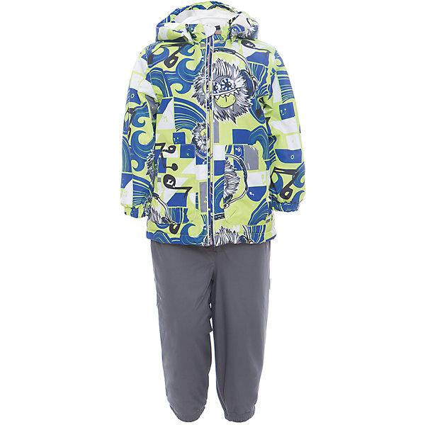 Комплект: куртка и полукомбинезон для мальчика CARLO HuppaКомплекты<br>Характеристики товара:<br><br>• цвет: лайм принт/серый<br>• комплектация: куртка и полукомбинезон <br>• ткань: 100% полиэстер<br>• подкладка: тафта - 100% полиэстер<br>• утеплитель: 100% полиэстер; куртка 100 г, полукомбинезон 40 г<br>• температурный режим: от -5°С до +10°С<br>• водонепроницаемость: 10000 мм<br>• воздухопроницаемость: 10000 мм<br>• светоотражающие детали<br>• шов сидения проклеен<br>• съёмный капюшон с резинкой<br>• эластичные манжеты на рукавах<br>• манжеты брюк с резинкой<br>• съёмные эластичные штрипки<br>• без внутренних швов<br>• резиновые подтяжки<br>• коллекция: весна-лето 2017<br>• страна бренда: Эстония<br><br>Такой модный демисезонный комплект  обеспечит детям тепло и комфорт. Он сделан из материала, отталкивающего воду, и дополнен подкладкой с утеплителем, поэтому изделие идеально подходит для межсезонья. Материал изделий - с мембранной технологией: защищая от влаги и ветра, он легко выводит лишнюю влагу наружу. Комплект очень симпатично смотрится. <br><br>Одежда и обувь от популярного эстонского бренда Huppa - отличный вариант одеть ребенка можно и комфортно. Вещи, выпускаемые компанией, качественные, продуманные и очень удобные. Для производства изделий используются только безопасные для детей материалы. Продукция от Huppa порадует и детей, и их родителей!<br><br>Комплект: куртка и полукомбинезон для мальчика CARLO от бренда Huppa (Хуппа) можно купить в нашем интернет-магазине.<br><br>Ширина мм: 356<br>Глубина мм: 10<br>Высота мм: 245<br>Вес г: 519<br>Цвет: зеленый<br>Возраст от месяцев: 48<br>Возраст до месяцев: 60<br>Пол: Мужской<br>Возраст: Детский<br>Размер: 110,104,98,92,86,80<br>SKU: 5346718