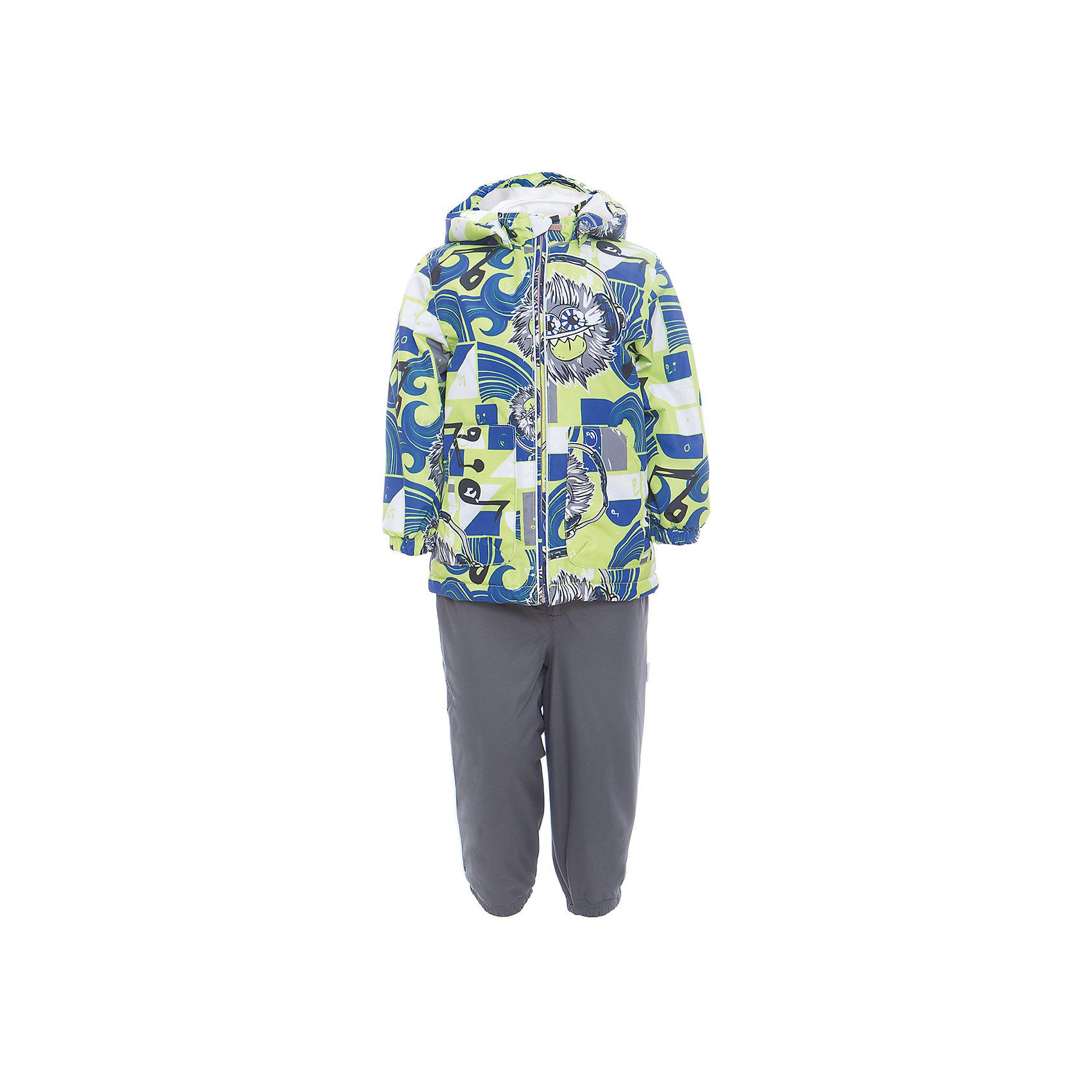 Комплект: куртка и полукомбинезон для мальчика CARLO HuppaКомплекты<br>Характеристики товара:<br><br>• цвет: лайм принт/серый<br>• комплектация: куртка и полукомбинезон <br>• ткань: 100% полиэстер<br>• подкладка: тафта - 100% полиэстер<br>• утеплитель: 100% полиэстер; куртка 100 г, полукомбинезон 40 г<br>• температурный режим: от -5°С до +10°С<br>• водонепроницаемость: 10000 мм<br>• воздухопроницаемость: 10000 мм<br>• светоотражающие детали<br>• шов сидения проклеен<br>• съёмный капюшон с резинкой<br>• эластичные манжеты на рукавах<br>• манжеты брюк с резинкой<br>• съёмные эластичные штрипки<br>• без внутренних швов<br>• резиновые подтяжки<br>• коллекция: весна-лето 2017<br>• страна бренда: Эстония<br><br>Такой модный демисезонный комплект  обеспечит детям тепло и комфорт. Он сделан из материала, отталкивающего воду, и дополнен подкладкой с утеплителем, поэтому изделие идеально подходит для межсезонья. Материал изделий - с мембранной технологией: защищая от влаги и ветра, он легко выводит лишнюю влагу наружу. Комплект очень симпатично смотрится. <br><br>Одежда и обувь от популярного эстонского бренда Huppa - отличный вариант одеть ребенка можно и комфортно. Вещи, выпускаемые компанией, качественные, продуманные и очень удобные. Для производства изделий используются только безопасные для детей материалы. Продукция от Huppa порадует и детей, и их родителей!<br><br>Комплект: куртка и полукомбинезон для мальчика CARLO от бренда Huppa (Хуппа) можно купить в нашем интернет-магазине.<br><br>Ширина мм: 356<br>Глубина мм: 10<br>Высота мм: 245<br>Вес г: 519<br>Цвет: зеленый<br>Возраст от месяцев: 48<br>Возраст до месяцев: 60<br>Пол: Мужской<br>Возраст: Детский<br>Размер: 110,80,86,92,98,104<br>SKU: 5346718