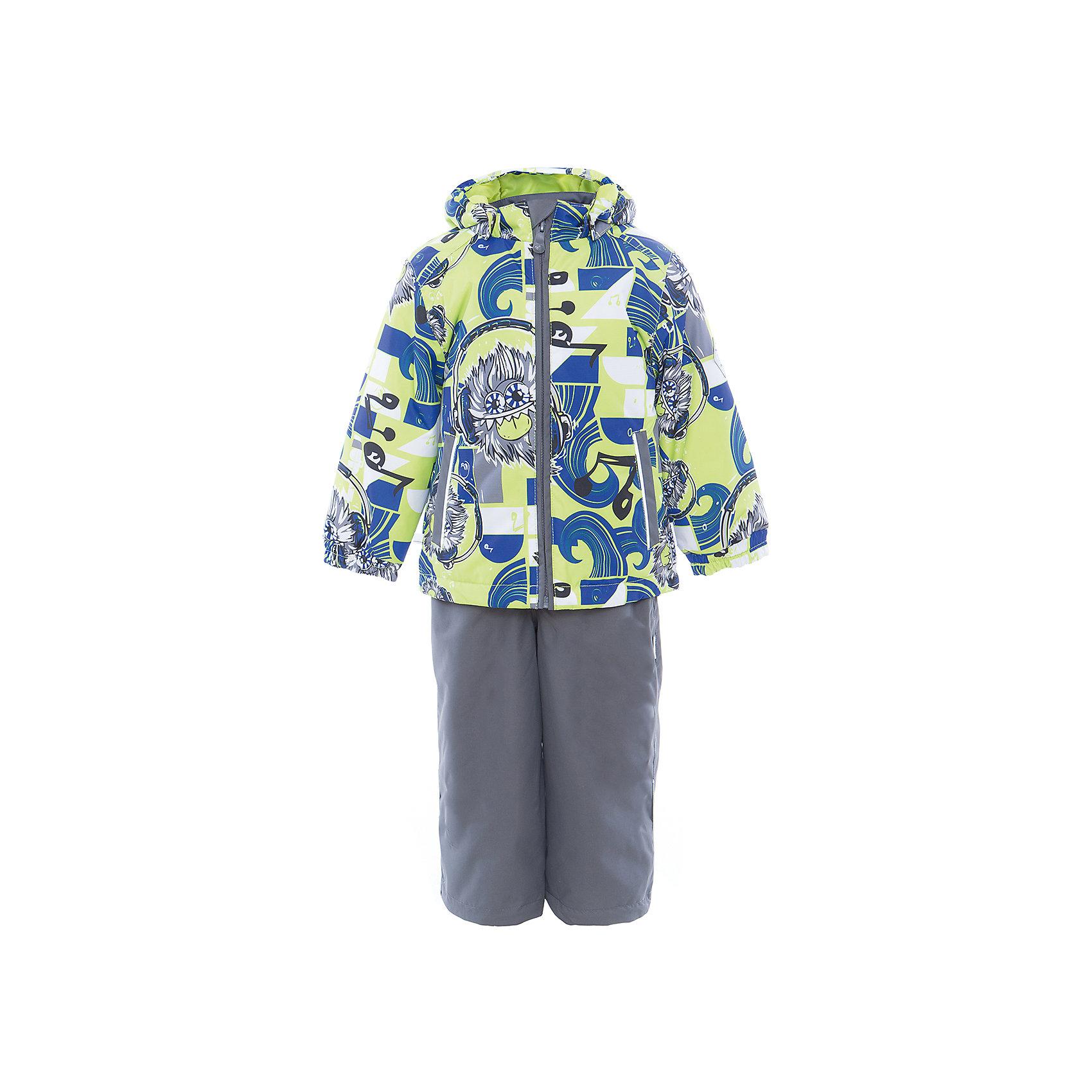 Комплект: куртка и полукомбинезон YOKO для мальчика HuppaВерхняя одежда<br>Характеристики товара:<br><br>• цвет: лайм принт/серый<br>• комплектация: куртка и полукомбинезон <br>• ткань: 100% полиэстер<br>• подкладка: тафта - 100% полиэстер<br>• утеплитель: в куртке и в брюках - 100% полиэстер 100 г<br>• температурный режим: от -5°С до +10°С<br>• водонепроницаемость: 10000 мм<br>• воздухопроницаемость: 10000 мм<br>• светоотражающие детали<br>• шов сидения проклеен<br>• эластичный шнур по низу куртки<br>• эластичный шнур с фиксатором внизу брючин<br>• съёмный капюшон с резинкой<br>• эластичные манжеты рукавов<br>• регулируемые низы брючин<br>• без внутренних швов<br>• резиновые подтяжки<br>• коллекция: весна-лето 2017<br>• страна бренда: Эстония<br><br>Такой модный демисезонный комплект  обеспечит детям тепло и комфорт. Он сделан из материала, отталкивающего воду, и дополнен подкладкой с утеплителем, поэтому изделие идеально подходит для межсезонья. Материал изделий - с мембранной технологией: защищая от влаги и ветра, он легко выводит лишнюю влагу наружу. Комплект очень симпатично смотрится. <br><br>Одежда и обувь от популярного эстонского бренда Huppa - отличный вариант одеть ребенка можно и комфортно. Вещи, выпускаемые компанией, качественные, продуманные и очень удобные. Для производства изделий используются только безопасные для детей материалы. Продукция от Huppa порадует и детей, и их родителей!<br><br>Комплект: куртка и полукомбинезон YOKO от бренда Huppa (Хуппа) можно купить в нашем интернет-магазине.<br><br>Ширина мм: 356<br>Глубина мм: 10<br>Высота мм: 245<br>Вес г: 519<br>Цвет: зеленый<br>Возраст от месяцев: 72<br>Возраст до месяцев: 84<br>Пол: Мужской<br>Возраст: Детский<br>Размер: 122,92,98,104,110,116<br>SKU: 5346739