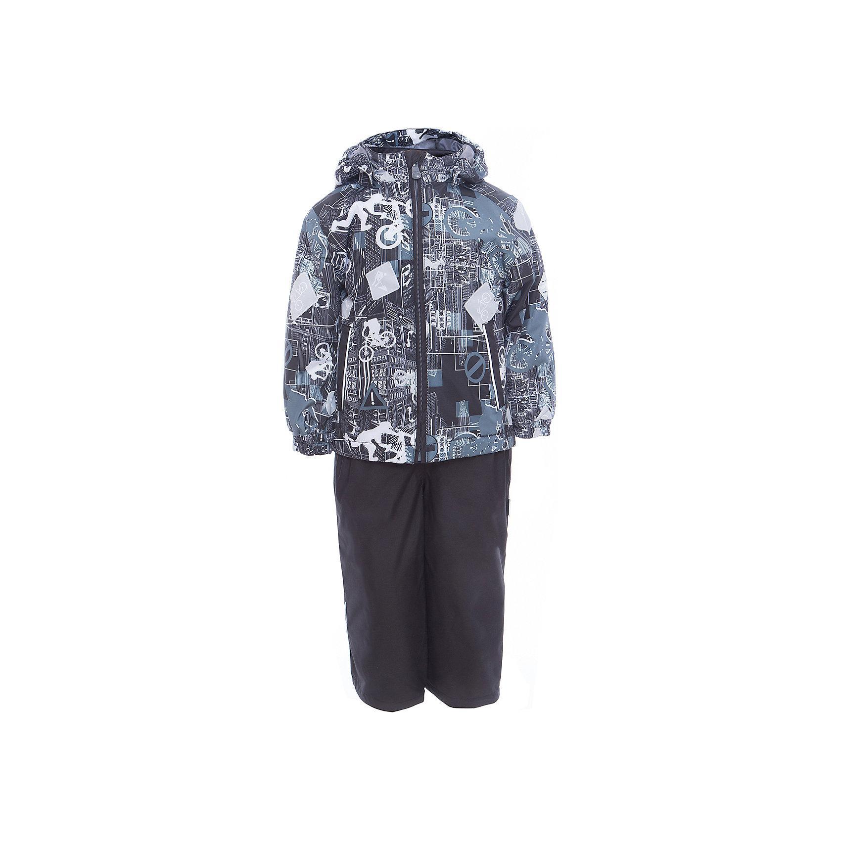 Комплект: куртка и полукомбинезон YOKO для мальчика HuppaВерхняя одежда<br>Характеристики товара:<br><br>• цвет: чёрный принт<br>• комплектация: куртка и полукомбинезон <br>• ткань: 100% полиэстер<br>• подкладка: тафта - 100% полиэстер<br>• утеплитель: в куртке и в брюках - 100% полиэстер 100 г<br>• температурный режим: от -5°С до +10°С<br>• водонепроницаемость: 10000 мм<br>• воздухопроницаемость: 10000 мм<br>• светоотражающие детали<br>• шов сидения проклеен<br>• эластичный шнур по низу куртки<br>• эластичный шнур с фиксатором внизу брючин<br>• съёмный капюшон с резинкой<br>• эластичные манжеты рукавов<br>• регулируемые низы брючин<br>• без внутренних швов<br>• резиновые подтяжки<br>• коллекция: весна-лето 2017<br>• страна бренда: Эстония<br><br>Такой модный демисезонный комплект  обеспечит детям тепло и комфорт. Он сделан из материала, отталкивающего воду, и дополнен подкладкой с утеплителем, поэтому изделие идеально подходит для межсезонья. Материал изделий - с мембранной технологией: защищая от влаги и ветра, он легко выводит лишнюю влагу наружу. Комплект очень симпатично смотрится. <br><br>Одежда и обувь от популярного эстонского бренда Huppa - отличный вариант одеть ребенка можно и комфортно. Вещи, выпускаемые компанией, качественные, продуманные и очень удобные. Для производства изделий используются только безопасные для детей материалы. Продукция от Huppa порадует и детей, и их родителей!<br><br>Комплект: куртка и полукомбинезон YOKO от бренда Huppa (Хуппа) можно купить в нашем интернет-магазине.<br><br>Ширина мм: 356<br>Глубина мм: 10<br>Высота мм: 245<br>Вес г: 519<br>Цвет: черный<br>Возраст от месяцев: 72<br>Возраст до месяцев: 84<br>Пол: Мужской<br>Возраст: Детский<br>Размер: 122,92,98,104,110,116<br>SKU: 5346760