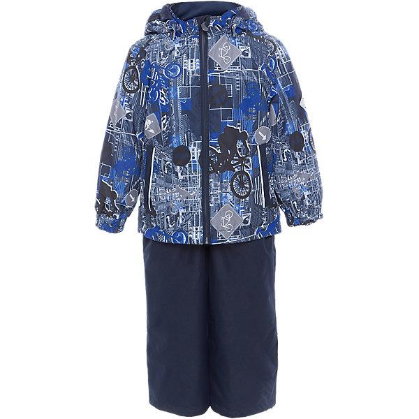 Комплект: куртка и полукомбинезон YOKO для мальчика HuppaВерхняя одежда<br>Характеристики товара:<br><br>• цвет: тёмно-синий принт<br>• комплектация: куртка и полукомбинезон <br>• ткань: 100% полиэстер<br>• подкладка: тафта - 100% полиэстер<br>• утеплитель: в куртке и в брюках - 100% полиэстер 100 г<br>• температурный режим: от -5°С до +10°С<br>• водонепроницаемость: 10000 мм<br>• воздухопроницаемость: 10000 мм<br>• светоотражающие детали<br>• шов сидения проклеен<br>• эластичный шнур по низу куртки<br>• эластичный шнур с фиксатором внизу брючин<br>• съёмный капюшон с резинкой<br>• эластичные манжеты рукавов<br>• регулируемые низы брючин<br>• без внутренних швов<br>• резиновые подтяжки<br>• коллекция: весна-лето 2017<br>• страна бренда: Эстония<br><br>Такой модный демисезонный комплект  обеспечит детям тепло и комфорт. Он сделан из материала, отталкивающего воду, и дополнен подкладкой с утеплителем, поэтому изделие идеально подходит для межсезонья. Материал изделий - с мембранной технологией: защищая от влаги и ветра, он легко выводит лишнюю влагу наружу. Комплект очень симпатично смотрится. <br><br>Одежда и обувь от популярного эстонского бренда Huppa - отличный вариант одеть ребенка можно и комфортно. Вещи, выпускаемые компанией, качественные, продуманные и очень удобные. Для производства изделий используются только безопасные для детей материалы. Продукция от Huppa порадует и детей, и их родителей!<br><br>Комплект: куртка и полукомбинезон YOKO от бренда Huppa (Хуппа) можно купить в нашем интернет-магазине.<br>Ширина мм: 356; Глубина мм: 10; Высота мм: 245; Вес г: 519; Цвет: синий; Возраст от месяцев: 24; Возраст до месяцев: 36; Пол: Мужской; Возраст: Детский; Размер: 98,122,116,110,104,92; SKU: 5346767;