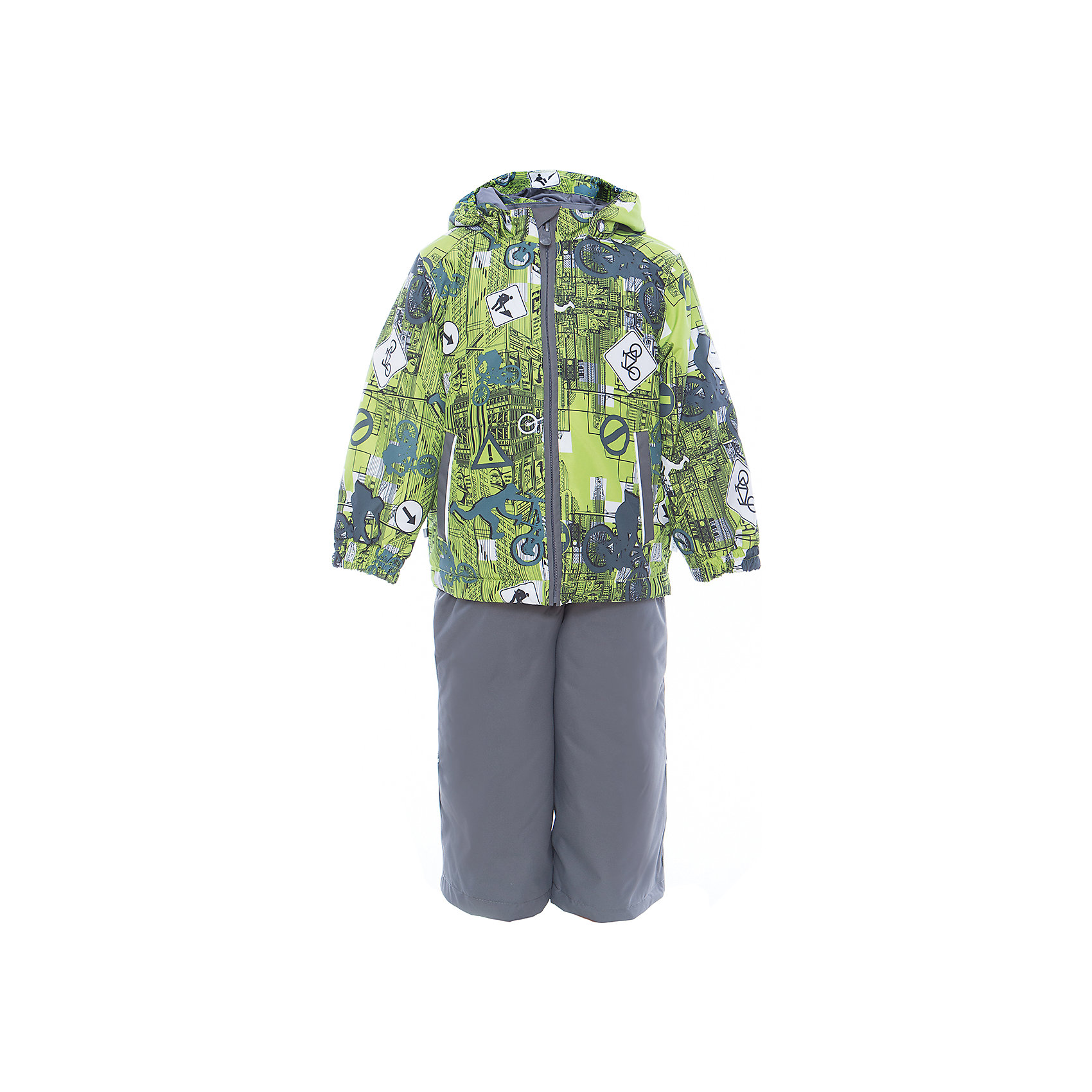 Комплект: куртка и полукомбинезон YOKO для мальчика HuppaВерхняя одежда<br>Характеристики товара:<br><br>• цвет: лайм принт/серый<br>• комплектация: куртка и полукомбинезон <br>• ткань: 100% полиэстер<br>• подкладка: тафта - 100% полиэстер<br>• утеплитель: в куртке и в брюках - 100% полиэстер 100 г<br>• температурный режим: от -5°С до +10°С<br>• водонепроницаемость: 10000 мм<br>• воздухопроницаемость: 10000 мм<br>• светоотражающие детали<br>• шов сидения проклеен<br>• эластичный шнур по низу куртки<br>• эластичный шнур с фиксатором внизу брючин<br>• съёмный капюшон с резинкой<br>• эластичные манжеты рукавов<br>• регулируемые низы брючин<br>• без внутренних швов<br>• резиновые подтяжки<br>• коллекция: весна-лето 2017<br>• страна бренда: Эстония<br><br>Такой модный демисезонный комплект  обеспечит детям тепло и комфорт. Он сделан из материала, отталкивающего воду, и дополнен подкладкой с утеплителем, поэтому изделие идеально подходит для межсезонья. Материал изделий - с мембранной технологией: защищая от влаги и ветра, он легко выводит лишнюю влагу наружу. Комплект очень симпатично смотрится. <br><br>Одежда и обувь от популярного эстонского бренда Huppa - отличный вариант одеть ребенка можно и комфортно. Вещи, выпускаемые компанией, качественные, продуманные и очень удобные. Для производства изделий используются только безопасные для детей материалы. Продукция от Huppa порадует и детей, и их родителей!<br><br>Комплект: куртка и полукомбинезон YOKO от бренда Huppa (Хуппа) можно купить в нашем интернет-магазине.<br><br>Ширина мм: 356<br>Глубина мм: 10<br>Высота мм: 245<br>Вес г: 519<br>Цвет: зеленый<br>Возраст от месяцев: 72<br>Возраст до месяцев: 84<br>Пол: Мужской<br>Возраст: Детский<br>Размер: 122,92,98,104,110,116<br>SKU: 5346788