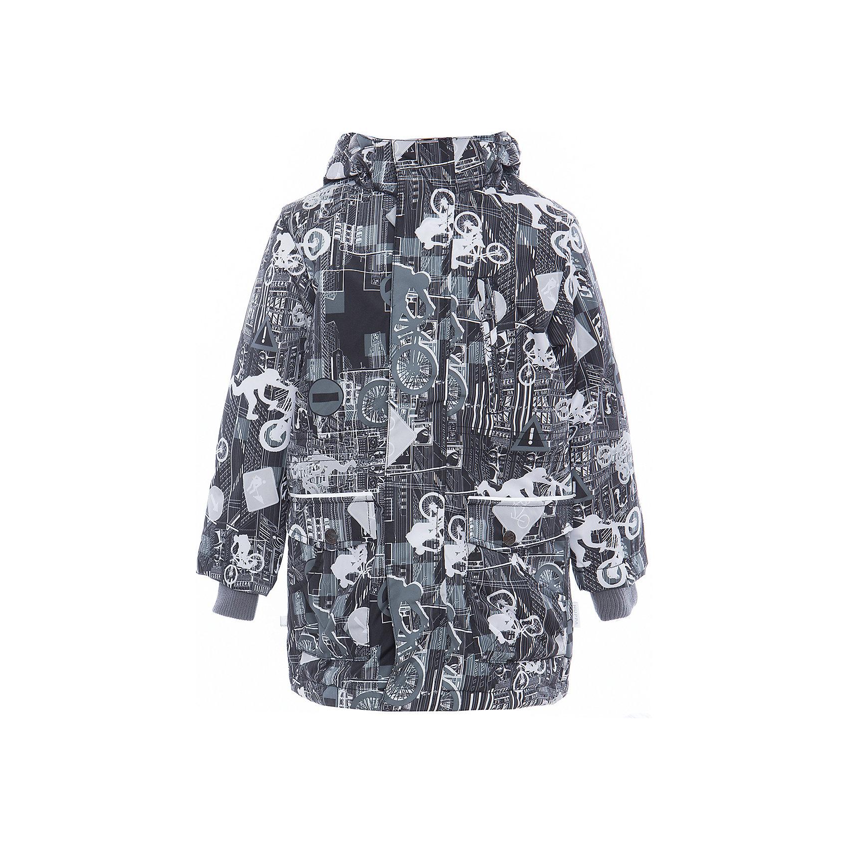 Куртка для мальчика ROLF HuppaДемисезонные куртки<br>Характеристики товара:<br><br>• цвет: серый принт<br>• ткань: 100% полиэстер<br>• подкладка: тафта - 100% полиэстер<br>• утеплитель: 100% полиэстер 100 г<br>• температурный режим: от -5°С до +10°С<br>• водонепроницаемость: 10000 мм<br>• воздухопроницаемость: 10000 мм<br>• светоотражающие детали<br>• эластичные манжеты<br>• молния<br>• плечевые швы проклеены<br>• карманы на молнии<br>• эластичный шнур + фиксатор<br>• съёмный капюшон с резинкой<br>• внутренние вязаные манжеты<br>• комфортная посадка<br>• коллекция: весна-лето 2017<br>• страна бренда: Эстония<br><br>Эта стильная куртка обеспечит детям тепло и комфорт. Она сделана из материала, отталкивающего воду, и дополнено подкладкой с утеплителем, поэтому изделие идеально подходит для межсезонья. Материал изделия - с мембранной технологией: защищая от влаги и ветра, он легко выводит лишнюю влагу наружу. Для удобства сделан капюшон. Куртка очень симпатично смотрится, яркая расцветка и крой добавляют ему оригинальности. Модель была разработана специально для детей.<br><br>Одежда и обувь от популярного эстонского бренда Huppa - отличный вариант одеть ребенка можно и комфортно. Вещи, выпускаемые компанией, качественные, продуманные и очень удобные. Для производства изделий используются только безопасные для детей материалы. Продукция от Huppa порадует и детей, и их родителей!<br><br>Куртку для мальчика ROLF от бренда Huppa (Хуппа) можно купить в нашем интернет-магазине.<br><br>Ширина мм: 356<br>Глубина мм: 10<br>Высота мм: 245<br>Вес г: 519<br>Цвет: черный<br>Возраст от месяцев: 144<br>Возраст до месяцев: 156<br>Пол: Мужской<br>Возраст: Детский<br>Размер: 158,104,110,116,122,128,134,140,146,152<br>SKU: 5347088