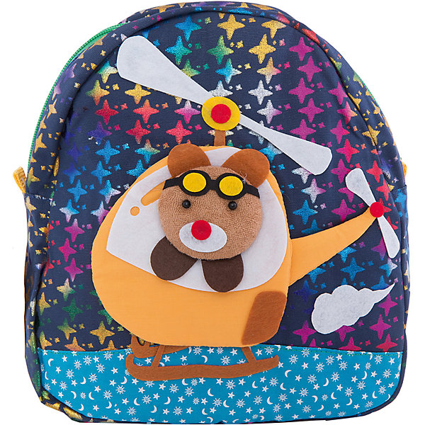 Рюкзак VITACCIАксессуары<br>Характеристики:<br><br>• Тип сумки: рюкзак<br>• Пол: для мальчика<br>• Цвет: синий<br>• Сезон: весна-лето<br>• Тематика рисунка: путешествие<br>• Тип застежки: молния<br>• Лямки регулируются по длине<br>• Одно отделение <br>• Предусмотрена ручка-петля<br>• Материал: текстиль <br>• Габариты: ширина днища – 9 см, высота – 25 см<br>• Размеры лямок (Ш*Д): 23*52 см<br>• Вес: 350 г<br>• Особенности ухода: влажная чистка, сухая чистка<br><br>Рюкзак VITACCI от лидера российско-итальянского предприятия, которое специализируется на выпуске высококачественной обуви и аксессуаров как для взрослых, так и для детей. Детские сумки этого торгового бренда изготавливаются с учетом анатомических особенностей детей и имеют эргономичную форму. Форма и дизайн сумок разрабатывается итальянскими ведущими дизайнерами и отражает новейшие тенденции в мире моды. Особенность этого торгового бренда заключается в эксклюзивном сочетании материалов разных фактур и декорирование изделий стильными аксессуарами. <br><br>Рюкзак VITACCI изготовлен из экологически безопасного и гипоаллергенного текстиля. У рюкзака предусмотрено одно просторное отделение. Широкие лямки регулируются по длине. Рюкзак выполнен в брендовом дизайне: сочетание ярких цветов и объемной аппликации, изображающей путешествие медвежонка на вертолете. С таким рюкзачком особенно приятно отправляться в дальние поездки и путешествия!<br><br>Рюкзак VITACCI – это стильный аксессуар, который создаст неповторимый образ вашего ребенка! <br><br>Рюкзак VITACCI можно купить в нашем интернет-магазине.<br><br>Ширина мм: 170<br>Глубина мм: 157<br>Высота мм: 67<br>Вес г: 117<br>Цвет: белый<br>Возраст от месяцев: 36<br>Возраст до месяцев: 144<br>Пол: Мужской<br>Возраст: Детский<br>Размер: one size<br>SKU: 5347431