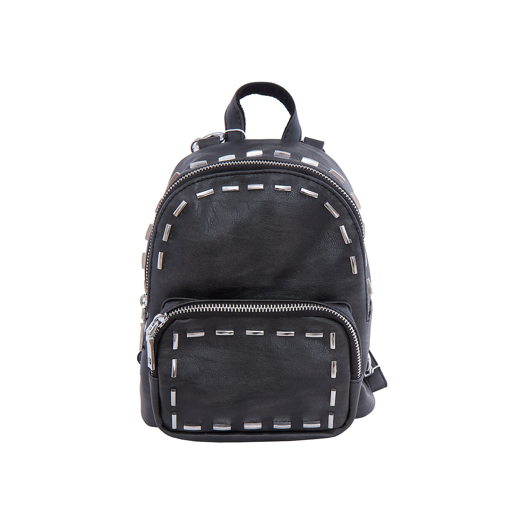 Рюкзак VITACCIАксессуары<br>Характеристики:<br><br>• Тип сумки: рюкзак<br>• Пол: для девочки<br>• Цвет: черный<br>• Сезон: круглый год<br>• Тематика рисунка: без рисунка<br>• Тип застежки: молния<br>• Декоративные элементы: металлические клепки<br>• Отстегивающиеся лямки регулируются по длине<br>• Одно отделение с дополнительными кармашками<br>• Предусмотрена ручка-петля<br>• Спереди имеется объемный карман на молнии<br>• Материал: верх – искусственная кожа, подклад – текстиль <br>• Габариты: ширина днища – 10 см, высота – 23 см, глубина – 10 см<br>• Вес: 900 г<br>• Особенности ухода: влажная чистка, сухая чистка<br><br>Рюкзак VITACCI от лидера российско-итальянского предприятия, которое специализируется на выпуске высококачественной обуви и аксессуаров как для взрослых, так и для детей. Детские сумки этого торгового бренда изготавливаются с учетом анатомических особенностей детей и имеют эргономичную форму. Форма и дизайн сумок разрабатывается итальянскими ведущими дизайнерами и отражает новейшие тенденции в мире моды. Особенность этого торгового бренда заключается в эксклюзивном сочетании материалов разных фактур и декорирование изделий стильными аксессуарами. <br><br>Рюкзак VITACCI изготовлен из экологически безопасной искусственной кожи с эффектом замши. Имеет одно просторное отделение с маленькими кармашками: один с замочком на молнии, второй – для сотового телефона или смартфона. Спереди у рюкзака предусмотрен внешний карман-отделение на застежке молнии и боковые карманы. Съемные лямки регулируются по длине. Рюкзак выполнен в стильном черном цвете, декорирован металлическими клепками в форме цилиндров.<br>Рюкзак VITACCI – это стильный аксессуар, который создаст неповторимый образ вашего ребенка! <br><br>Рюкзак VITACCI можно купить в нашем интернет-магазине.<br><br>Ширина мм: 170<br>Глубина мм: 157<br>Высота мм: 67<br>Вес г: 117<br>Цвет: черный<br>Возраст от месяцев: 36<br>Возраст до месяцев: 144<br>Пол: Женский<br>Возраст: Детский<br>Размер: one size<br>SKU: 5