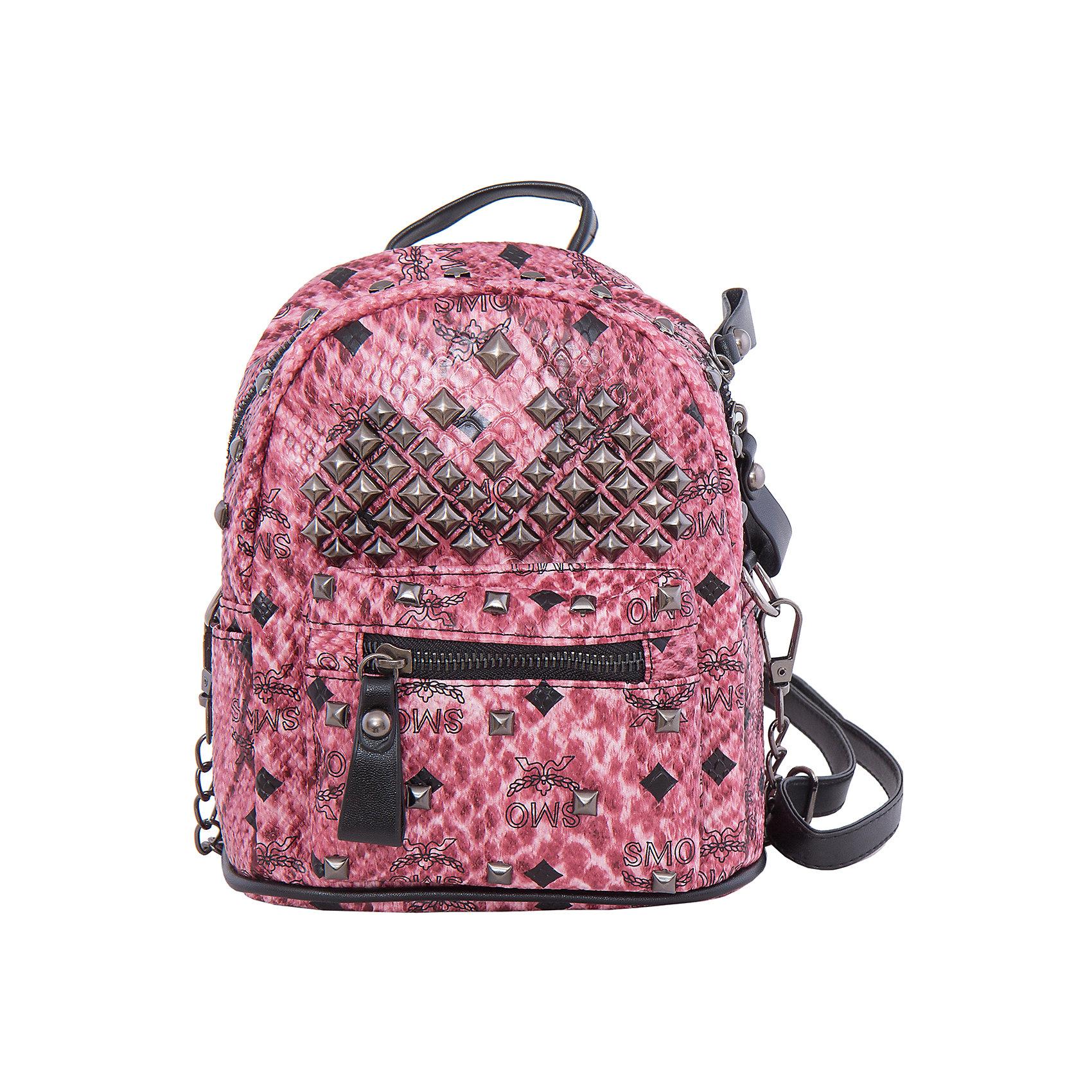 Рюкзак VITACCIАксессуары<br>Характеристики:<br><br>• Тип сумки: рюкзак<br>• Пол: для девочки<br>• Цвет: розовый<br>• Сезон: круглый год<br>• Тематика рисунка: абстракция<br>• Тип застежки: молния<br>• Декоративные элементы: металлические клепки<br>• Лямки регулируются по длине<br>• Одно отделение с дополнительными кармашками<br>• Предусмотрена ручка-петля<br>• Спереди имеется объемный карман на молнии<br>• Материал: верх – искусственная кожа, подклад – текстиль <br>• Габариты: ширина днища – 16 см, высота – 30 см, глубина – 10,5 см<br>• Вес: 900 г<br>• Особенности ухода: влажная чистка, сухая чистка<br><br>Рюкзак VITACCI от лидера российско-итальянского предприятия, которое специализируется на выпуске высококачественной обуви и аксессуаров как для взрослых, так и для детей. Детские сумки этого торгового бренда изготавливаются с учетом анатомических особенностей детей и имеют эргономичную форму. Форма и дизайн сумок разрабатывается итальянскими ведущими дизайнерами и отражает новейшие тенденции в мире моды. Особенность этого торгового бренда заключается в эксклюзивном сочетании материалов разных фактур и декорирование изделий стильными аксессуарами. <br><br>Рюкзак VITACCI изготовлен из экологически безопасной искусственной кожи. Имеет одно просторное отделение с маленькими кармашками: один с замочком на молнии, второй – для сотового телефона или смартфона. Спереди у рюкзака предусмотрен внешний карман-отделение на застежке молнии и двойные боковые карманы. Лямки регулируются по длине. Рюкзак выполнен в стильном розовом цвете, декорирован металлическими клепками.<br>Рюкзак VITACCI – это стильный аксессуар, который создаст неповторимый образ вашей девочки! <br><br>Рюкзак VITACCI можно купить в нашем интернет-магазине.<br><br>Ширина мм: 170<br>Глубина мм: 157<br>Высота мм: 67<br>Вес г: 117<br>Цвет: розовый<br>Возраст от месяцев: 36<br>Возраст до месяцев: 144<br>Пол: Женский<br>Возраст: Детский<br>Размер: one size<br>SKU: 5347487