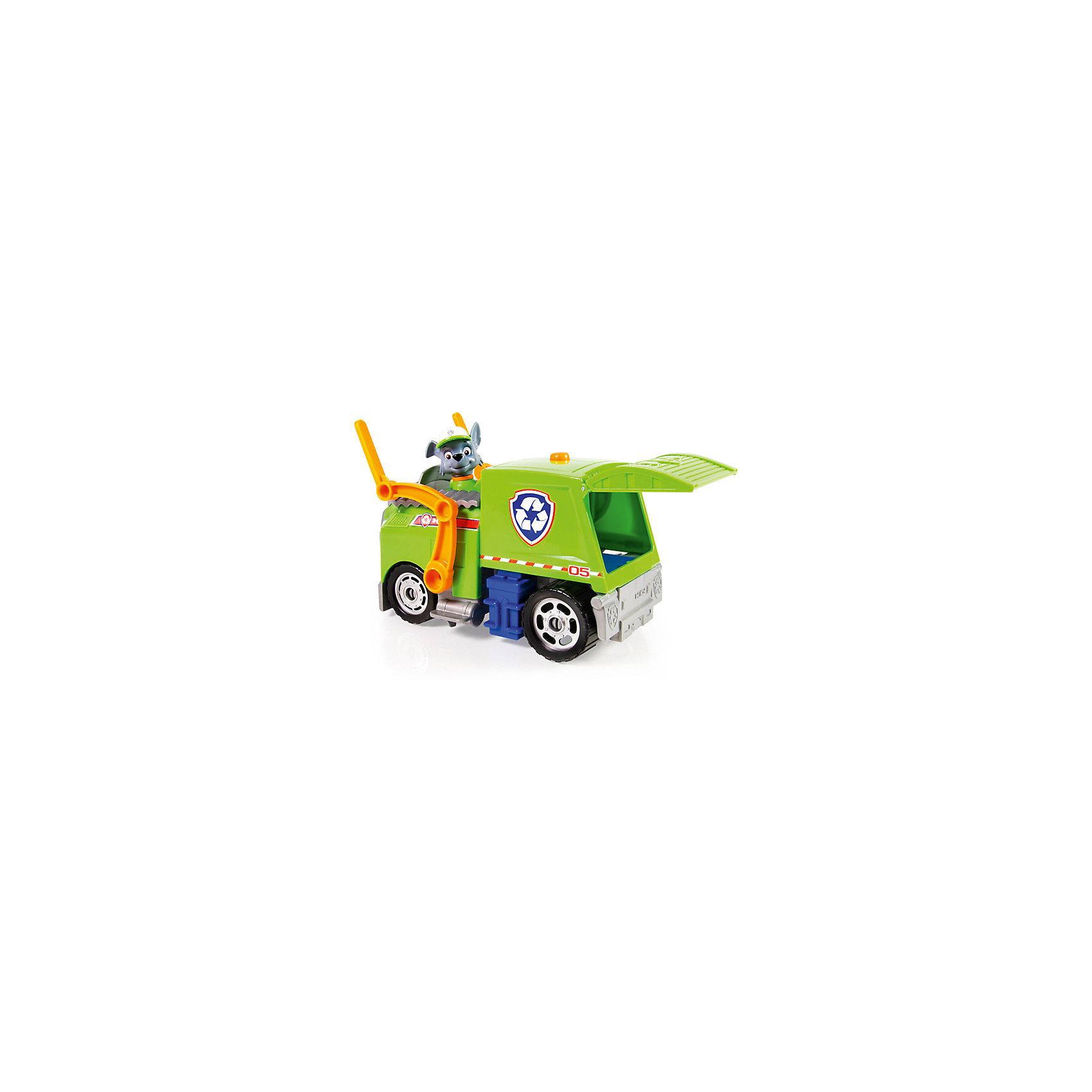 Автомобиль спасателей Рокки, Щенячий патрульЩенячий патруль<br>Характеристики:<br><br>• Предназначение: для сюжетно-ролевых и подвижных игр<br>• Пол: для мальчиков<br>• Коллекция: Щенячий патруль<br>• Материал: пластик<br>• Комплектация: мусоровоз, фигурка Рокки<br>• Звуковые и световые эффекты<br>• Двигающийся погрузчик<br>• Длина мусоровоза: около 30 см<br>• Высота щенка: 7 см<br>• Батарейки: 3 шт. типа ААА (предусмотрены в комплекте)<br>• Вес: 690 г<br>• Размеры упаковки (Д*В*Ш): 30,5*13,5*25 см<br>• Упаковка: картонная коробка открытого типа<br>• Особенности ухода: сухая или влажная чистка<br><br>Автомобиль спасателей Рокки, Щенячий патруль – это набор производителем которого является торговый бренд Spin Master, специализирующийся на выпуске интерактивных игрушек. Комплект состоит из мусоровоза и фигурки Рокки. Все детали выполнены из прочного и безопасного пластика, окрашены нетоксичными красками. <br><br>Фигурка Рокки выполнена с высокой степенью детализации и соответствия экранному прототипу: у него имеется кепка и зеленый жилет. Мусоровоз оснащен двигающимися погрузчиком и открывающимися кузовом. Сюжетно-ролевые игры с набором будут способствовать развитию памяти, фантазии и воображения, а также позволят воспроизвести наиболее понравившиеся сюжеты с любимыми героями.<br><br>Автомобиль спасателей Рокки, Щенячий патруль можно купить в нашем интернет-магазине.<br><br>Ширина мм: 305<br>Глубина мм: 250<br>Высота мм: 135<br>Вес г: 690<br>Возраст от месяцев: 36<br>Возраст до месяцев: 84<br>Пол: Мужской<br>Возраст: Детский<br>SKU: 5348071