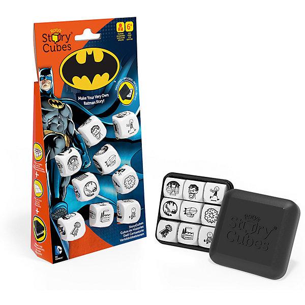 Кубики Историй Бэтмен, Rorys Story CubesИгры в дорогу<br>Кубики Историй Бэтмен, Rorys Story Cubes.<br><br>Характеристики:<br><br>- В наборе: 9 кубиков, пластиковая коробочка для хранения (6х6х2см), инструкция<br>- Цвет изображений на кубиках: черный<br>- Материал: пластмасса<br>- Лицензия DC Comics и Warner Bros. Entertainment Inc<br>- Награда PAL Award 2015, присуждаемая играм, которые способствуют развитию речи у детей<br><br>Кубики Историй Бэтмен, Rory's Story Cubes - это редкий тип игры, где между игроками нет конкуренции, здесь нет побежденных или победителей, ведь смысл игры в том, чтобы вместе или самостоятельно придумать и рассказать выдуманную историю о новом приключении Бэтмена, в которой он, безусловно, победит всех злодеев! На кубиках расположено 54 изображения персонажей, локаций, предметов, действий. Это огромное количество возможных комбинаций и вариантов историй. Здесь друзья и враги Бэтмена, его оружие и транспорт, знакомые пейзажи Готэма – все, что пригодится вам для составления истории о супергерое. Для удобства в инструкции дана расшифровка всех картинок. Бросайте кубики. Задача игрока – связать 9 выпавших картинок единым сюжетом. Начитать историю можно со слова «однажды» или одной из фраз, предложенных в правилах. «На темных улицах Готэма…» – согласитесь, звучит таинственно и располагает к сочинению волнующего рассказа! Играйте большой компанией. Каждый игрок бросает по три кубика и сочиняет свою часть истории. Четких правил игры нет, надо только проявлять свою фантазию и превращать картинки в подробный рассказ. Игра подходит и для одного игрока. Составленные истории можно записать или даже нарисовать по ним настоящий комикс! Коробочка для хранения очень удобная и компактная, так что взять игру с собой в сумку или даже в карман - не проблема! Сочинение историй стимулирует фантазию и отлично развивает речь. Ваш ребенок научится связному и логичному построению рассказа. Со временем он сможет составлять истории все быстрее и избавится от неловких п