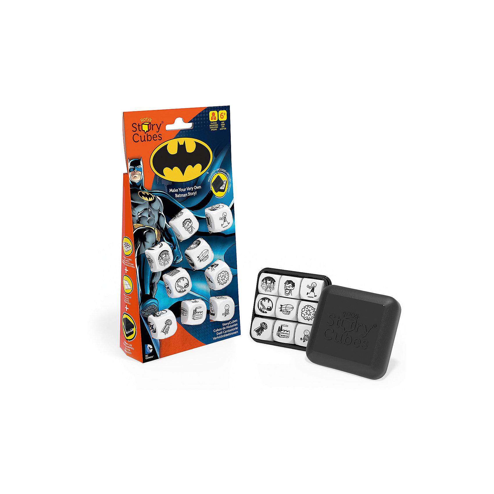 Кубики Историй Бэтмен, Rorys Story CubesКубики Историй Бэтмен, Rorys Story Cubes.<br><br>Характеристики:<br><br>- В наборе: 9 кубиков, пластиковая коробочка для хранения (6х6х2см), инструкция<br>- Цвет изображений на кубиках: черный<br>- Материал: пластмасса<br>- Лицензия DC Comics и Warner Bros. Entertainment Inc<br>- Награда PAL Award 2015, присуждаемая играм, которые способствуют развитию речи у детей<br><br>Кубики Историй Бэтмен, Rory's Story Cubes - это редкий тип игры, где между игроками нет конкуренции, здесь нет побежденных или победителей, ведь смысл игры в том, чтобы вместе или самостоятельно придумать и рассказать выдуманную историю о новом приключении Бэтмена, в которой он, безусловно, победит всех злодеев! На кубиках расположено 54 изображения персонажей, локаций, предметов, действий. Это огромное количество возможных комбинаций и вариантов историй. Здесь друзья и враги Бэтмена, его оружие и транспорт, знакомые пейзажи Готэма – все, что пригодится вам для составления истории о супергерое. Для удобства в инструкции дана расшифровка всех картинок. Бросайте кубики. Задача игрока – связать 9 выпавших картинок единым сюжетом. Начитать историю можно со слова «однажды» или одной из фраз, предложенных в правилах. «На темных улицах Готэма…» – согласитесь, звучит таинственно и располагает к сочинению волнующего рассказа! Играйте большой компанией. Каждый игрок бросает по три кубика и сочиняет свою часть истории. Четких правил игры нет, надо только проявлять свою фантазию и превращать картинки в подробный рассказ. Игра подходит и для одного игрока. Составленные истории можно записать или даже нарисовать по ним настоящий комикс! Коробочка для хранения очень удобная и компактная, так что взять игру с собой в сумку или даже в карман - не проблема! Сочинение историй стимулирует фантазию и отлично развивает речь. Ваш ребенок научится связному и логичному построению рассказа. Со временем он сможет составлять истории все быстрее и избавится от неловких пауз и слов-парази