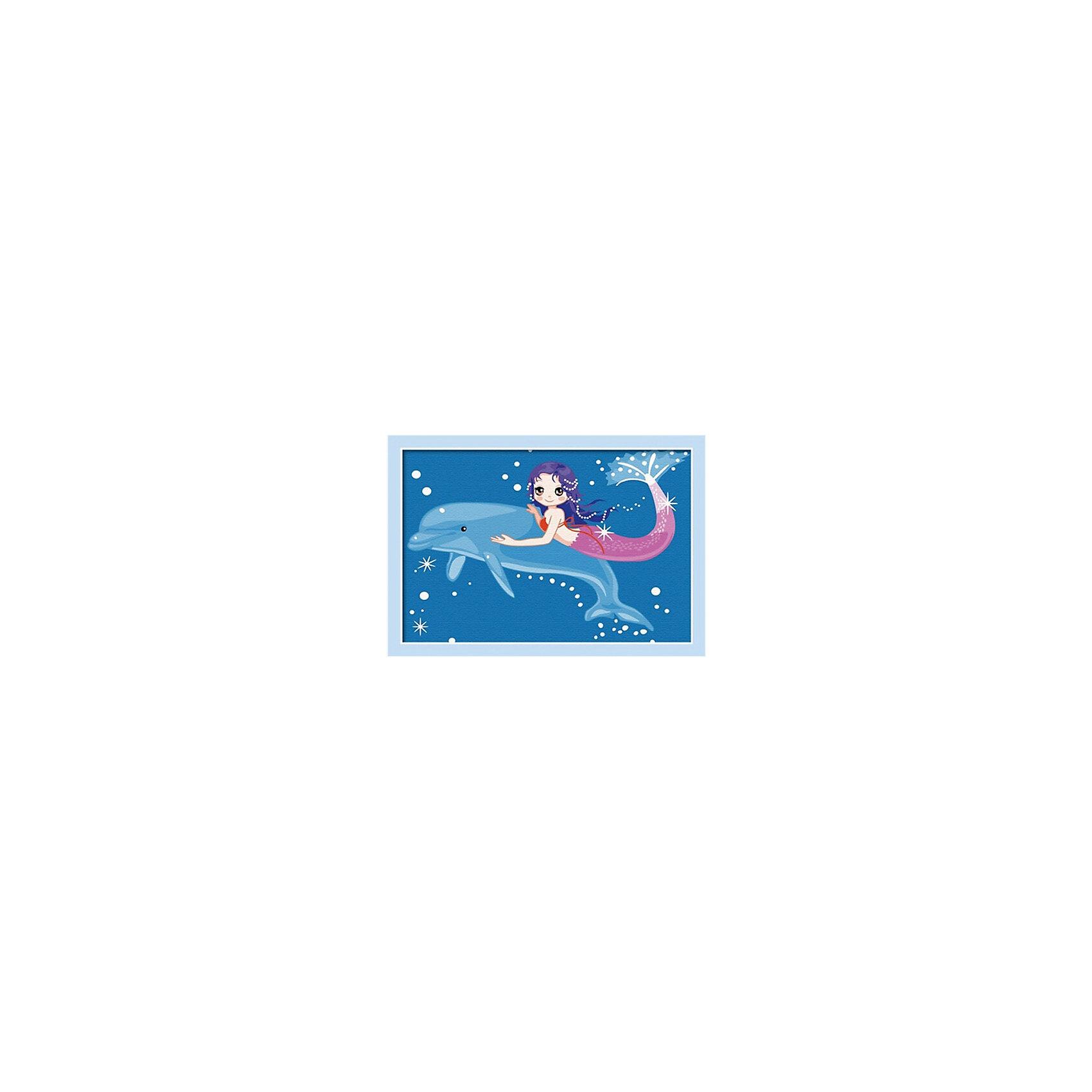 Роспись по холсту Дельфин и русалкаРисование<br>Это набор для раскрашивания, который состоит из размеченного и полностью готового холста. натянутого на деревянный подрамник. Холст состоит из хлопка 100 %. Он пропитан специальной смесью для нанесения акриловых красок. Краски акриловые на водной основе. Они в вакуумной упаковке. Что гарантирует, то что они не высохнут от жары и не замерзнут от холода. В набор входят 3 кисти, контрольный лист.<br><br>Ширина мм: 210<br>Глубина мм: 25<br>Высота мм: 310<br>Вес г: 300<br>Возраст от месяцев: 96<br>Возраст до месяцев: 144<br>Пол: Унисекс<br>Возраст: Детский<br>SKU: 5350896