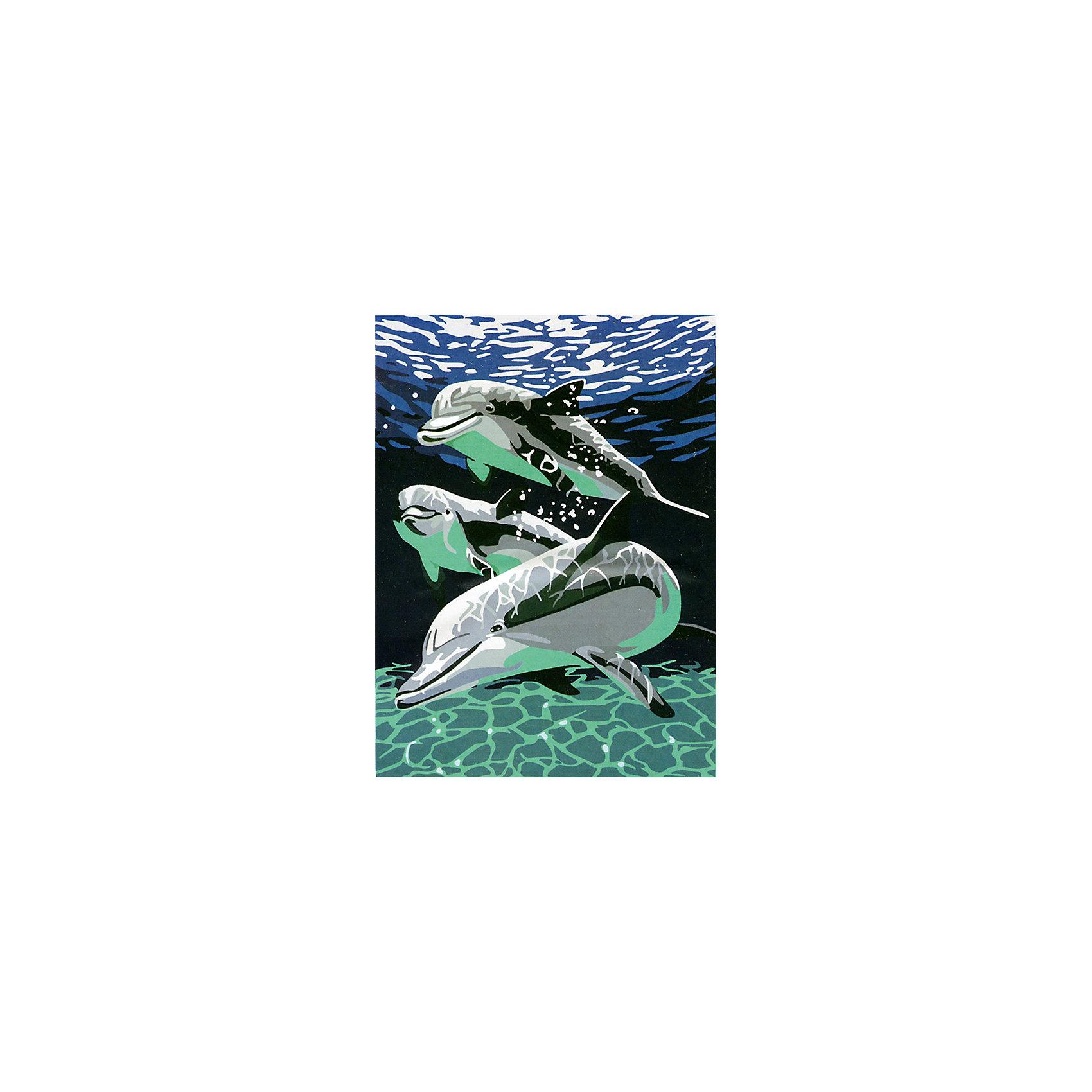 Роспись по холсту ДельфиныРисование<br>Это набор для раскрашивания, который состоит из размеченного и полностью готового холста. натянутого на деревянный подрамник. Холст состоит из хлопка 100 %. Он пропитан специальной смесью для нанесения акриловых красок. Краски акриловые на водной основе. Они в вакуумной упаковке. Что гарантирует, то что они не высохнут от жары и не замерзнут от холода. В набор входят 3 кисти, контрольный лист.<br><br>Ширина мм: 310<br>Глубина мм: 25<br>Высота мм: 410<br>Вес г: 500<br>Возраст от месяцев: 96<br>Возраст до месяцев: 144<br>Пол: Унисекс<br>Возраст: Детский<br>SKU: 5350899