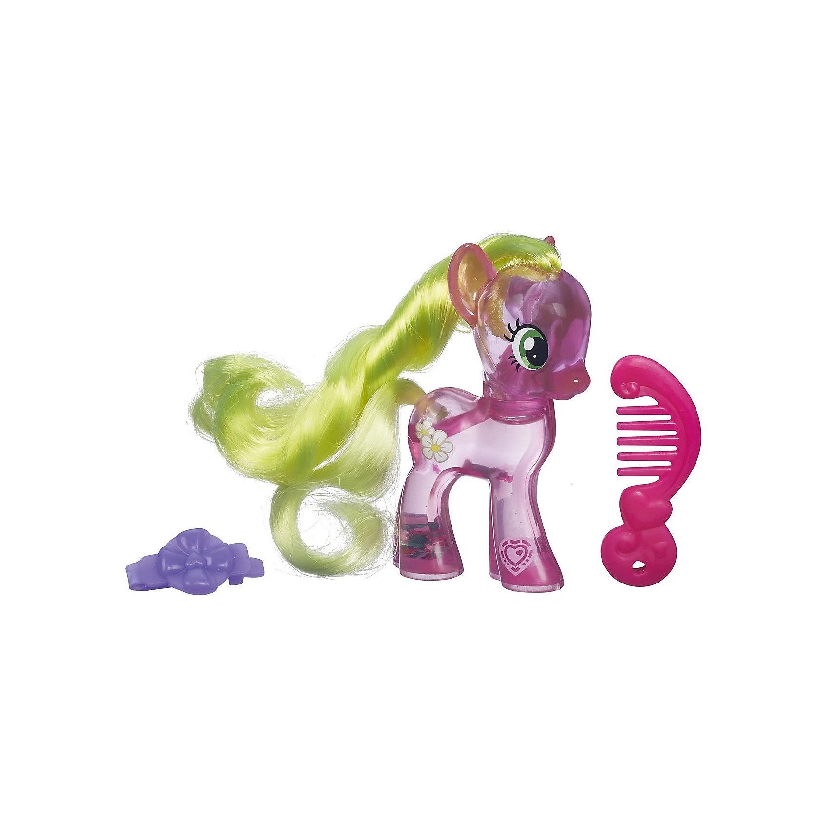 Фигурка с блестками My little Pony, Cutie Mark Magic - Флауэр ВишесКоллекционные и игровые фигурки<br>Пони с блестками, My little Pony (Моя маленькая Пони), B0357/B5415.<br><br>Характеристика:<br><br>• Материал: пластик.   <br>• Размер упаковки: 17х13,8х4,4 см. <br>• Высота фигурки: 8 см. <br>• Длинная, мягкая, блестящая грива. <br>• В комплекте: фигурка пони, расческа, заколка. <br>• Фигурка наполнена специальной жидкостью с блесками.<br><br>Очаровательная маленькая лошадка Дейзи приведет в восторг всех поклонников My little Pony (Май литл Пони). Игрушка наполнена специальной жидкостью с блестками, которая переливается и мерцает, если пони перевернуть или потрясти. На голове у лошадки роскошная грива, которую можно расчёсывать специальной маленькой расческой и украшать оригинальной маленькой заколкой.<br>Игрушка изготовлена из экологичных нетоксичных материалов безопасных для детей.<br><br>Пони с блестками, My little Pony (Моя маленькая Пони), B0357/B5415, можно купить в нашем интернет-магазине.<br><br>Ширина мм: 44<br>Глубина мм: 138<br>Высота мм: 170<br>Вес г: 350<br>Возраст от месяцев: 36<br>Возраст до месяцев: 72<br>Пол: Женский<br>Возраст: Детский<br>SKU: 5352850