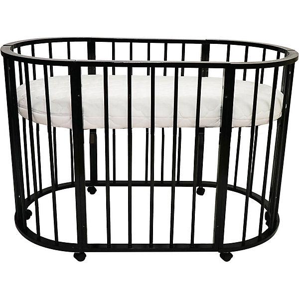 Кроватка-трансформер овальная Bianca 4 в 1, Valle, венгеДетские кроватки<br>Характеристики:<br><br>• регулируемая высота, дно поднимается и опускается;<br>• кроватка на колесиках, имеются стопоры;<br>• материал: древесина, неокрашенное ДСП, обработка безопасными лакокрасочными материалами;<br>• размер кроватки: 125х65 см;<br>• размер люльки: 92х65 см.<br><br>ВНИМАНИЕ!!! Матрас в комплект не входит и приобретается отдельно.<br><br>Кроватка Bianca Valle – это 4 предмета мебели в 1 комплекте. Кроватка трансформируется в люльку для новорожденного (без функции качания), игровой манеж, обычную кровать и диванчик с открытой передней панелью, 2 кресла со столиком, комод- полка для детских вещей. Данные виды трансформации позволяют использовать кроватку от рождения ребенка до 3-5 лет. Устойчивая конструкция кроватки без острых выступающих краев обеспечивает максимальную безопасность ребенка.<br><br>Кроватку-трансформер овальную Bianca 4 в 1, Valle, венге можно купить в нашем магазине.<br><br>Ширина мм: 400<br>Глубина мм: 980<br>Высота мм: 640<br>Вес г: 26400<br>Возраст от месяцев: 0<br>Возраст до месяцев: 36<br>Пол: Унисекс<br>Возраст: Детский<br>SKU: 5353871