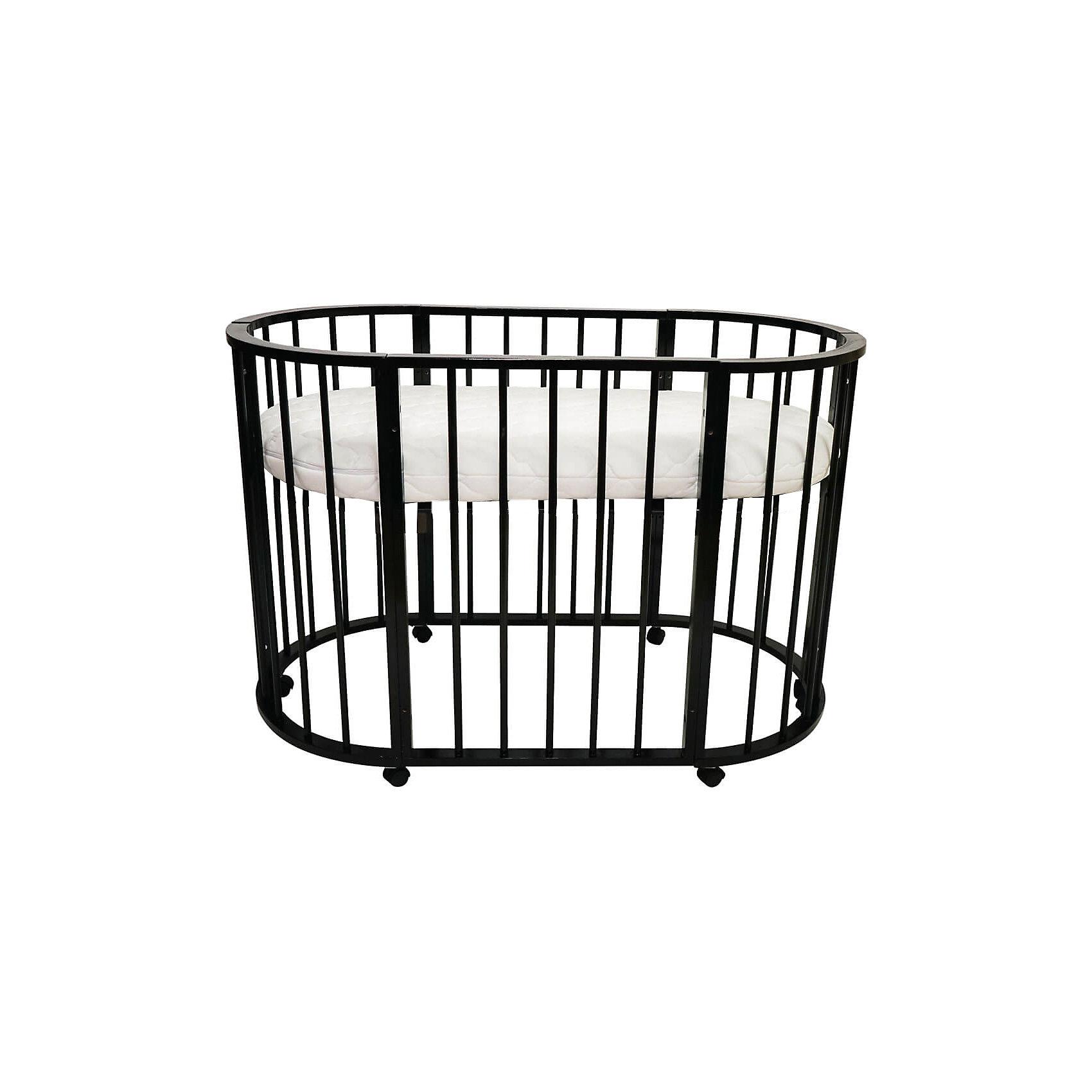 Кроватка-трансформер овальная Bianca 4 в 1, Valle, венгеХарактеристики:<br><br>• регулируемая высота, дно поднимается и опускается;<br>• кроватка на колесиках, имеются стопоры;<br>• материал: древесина, неокрашенное ДСП, обработка безопасными лакокрасочными материалами;<br>• размер кроватки: 125х65 см;<br>• размер люльки: 92х65 см.<br><br>ВНИМАНИЕ!!! Матрас в комплект не входит и приобретается отдельно.<br><br>Кроватка Bianca Valle – это 4 предмета мебели в 1 комплекте. Кроватка трансформируется в люльку для новорожденного (без функции качания), игровой манеж, обычную кровать и диванчик с открытой передней панелью, 2 кресла со столиком, комод- полка для детских вещей. Данные виды трансформации позволяют использовать кроватку от рождения ребенка до 3-5 лет. Устойчивая конструкция кроватки без острых выступающих краев обеспечивает максимальную безопасность ребенка.<br><br>Кроватку-трансформер овальную Bianca 4 в 1, Valle, венге можно купить в нашем магазине.<br><br>Ширина мм: 400<br>Глубина мм: 980<br>Высота мм: 640<br>Вес г: 26400<br>Возраст от месяцев: 0<br>Возраст до месяцев: 36<br>Пол: Унисекс<br>Возраст: Детский<br>SKU: 5353871