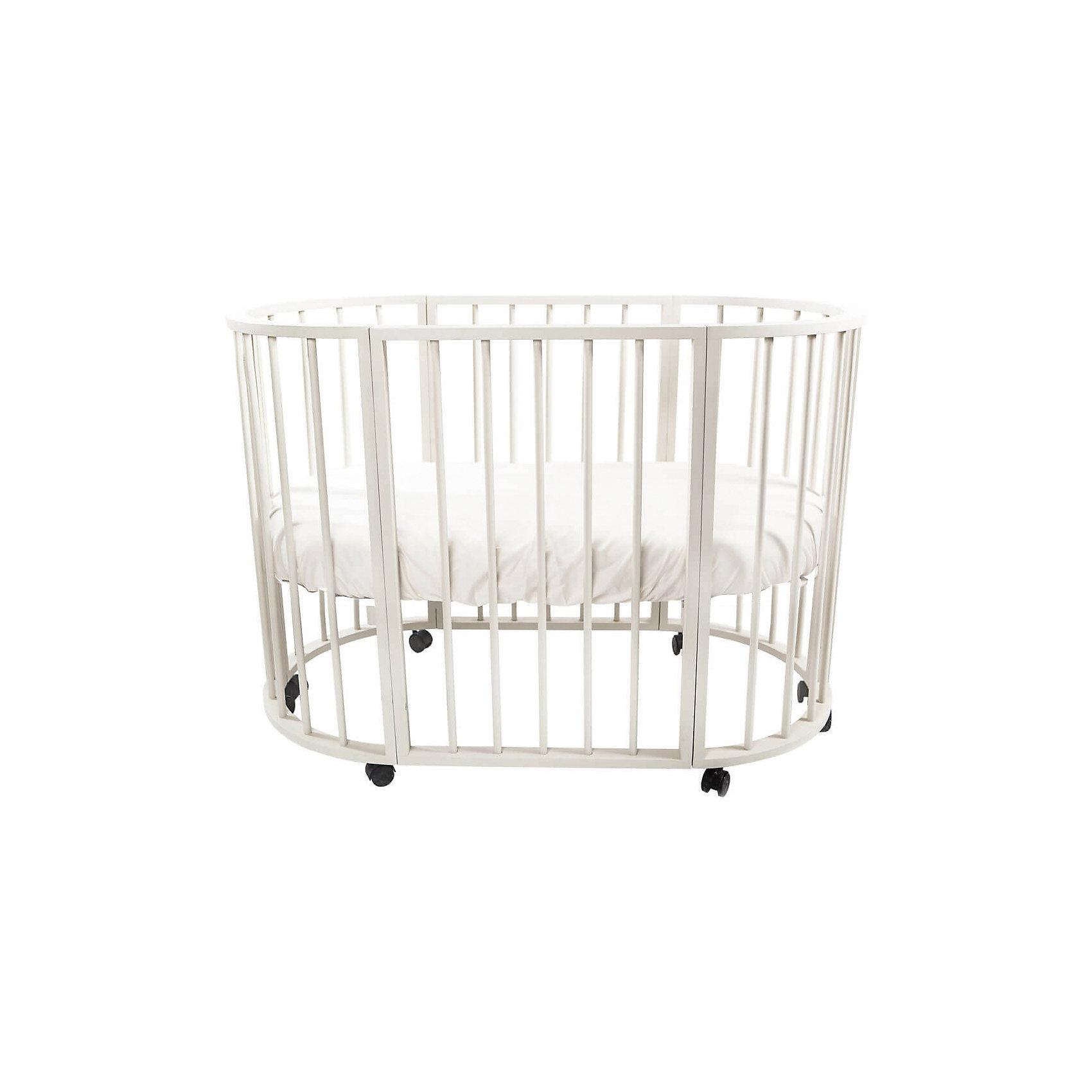 Кроватка-трансформер овальная Bianca 4 в 1, Valle, слоновая кость  маленькая тумбочка с ящиками