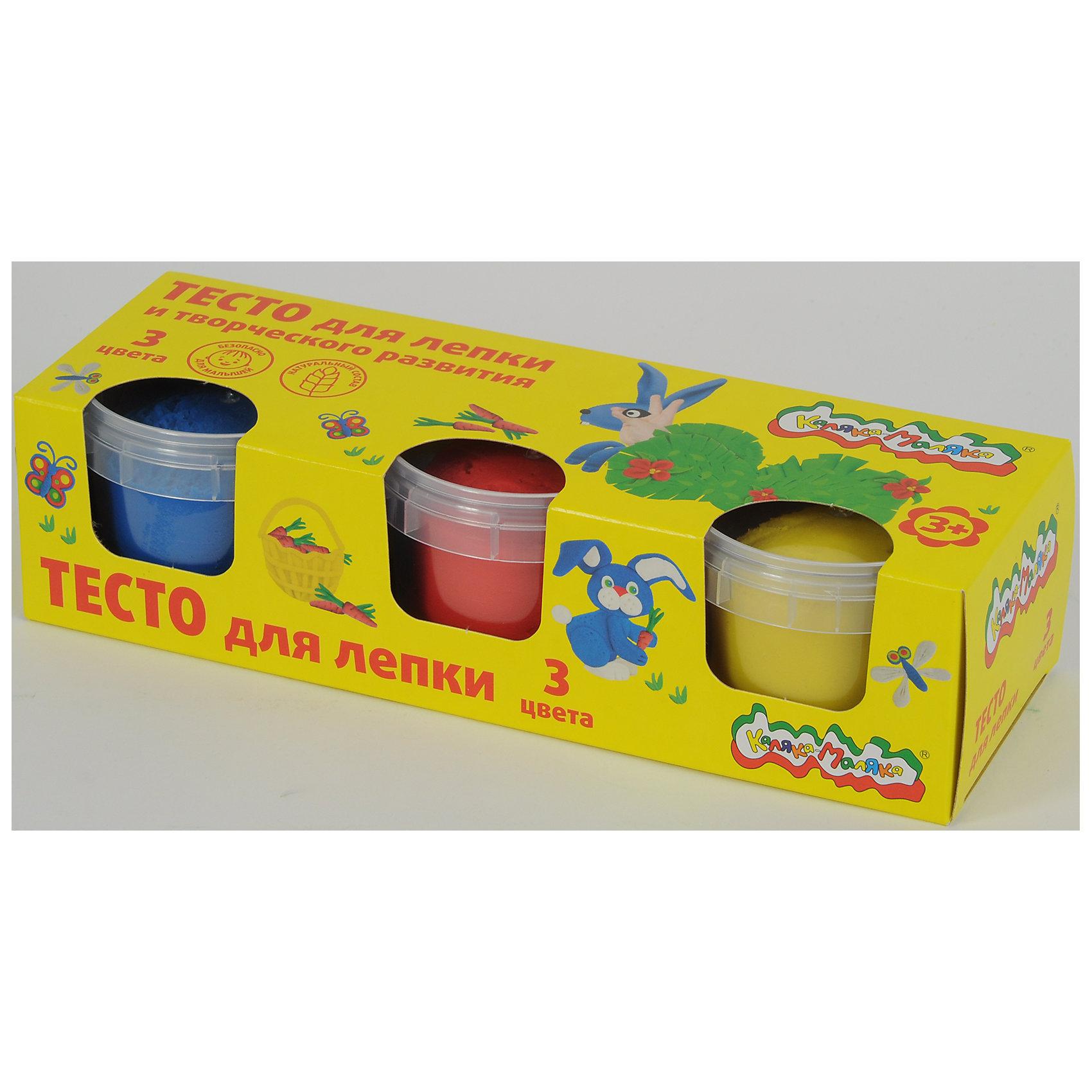 Тесто для лепки Каляка-Маляка, 5 цветов по 90 гТесто для лепки<br>Лепка – один из самых полезных и доступных с раннего возраста занятий для малышей. Она развивает мелкую моторику, помогает изучить формы и цвета. Тесто  Каляка-Маляка натуральное, более мягкое и лучше подходит для детских пальчиков, чем пластилин. Во всем мире именно тесто для лепки пользуется наибольшим спросом у родителей детей дошкольного возраста.Тесто сделано в России, и по сравнению с некоторыми китайскими аналогами, оно абсолютно натурально - на основе муки и растительных компонентов.Очень мягкое, детские пальчики без труда могут его разминать.На вкус тесто соленое, чтобы малыши не стремились положить его в рот.Размер баночки – 90 грамм. Не прилипает к рукам, цвета легко смешиваются. Рекомендовано педагогами.Цвета: красный, желтый, синий.<br><br>Ширина мм: 70<br>Глубина мм: 210<br>Высота мм: 55<br>Вес г: 340<br>Возраст от месяцев: 36<br>Возраст до месяцев: 120<br>Пол: Унисекс<br>Возраст: Детский<br>SKU: 5354231