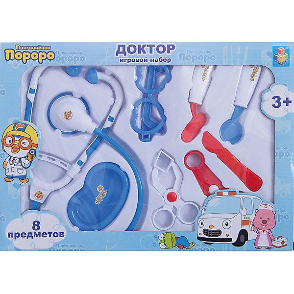 Набор доктора, 8 предм., Пингвиненок Пороро, 1toyНаборы доктора и ветеринара<br>Характеристики:<br><br>• Вид игр: сюжетно-ролевые<br>• Пол: для девочек/для мальчиков<br>• Серия: Пингвиненок Пороро<br>• Материал: пластик, картон<br>• Комплектация: стетоскоп, очки, скальпель, 2 зажима, молоточек, лоток для инструментов, инструмент для исследования лор-органов<br>• Вес: 250 г<br>• Упаковка: картонная коробка с блистером<br>• Особенности ухода: инструменты можно мыть в теплой мыльной воде<br><br>Игровой набор доктора Пингвинёнок Пороро, в наборе 8 предметов, в коробке от отечественного торгового бренда предназначен для организации сюжетно-ролевых игр на медицинскую тематику. Комплект состоит из 8 предметов, наиболее часто используемых для первичного осмотра пациента и включает в себя: стетоскоп, молоточек, инструмент для исследования лор-органов, скальпель, зажимы, лоток и очки для доктора. Все инструменты выполнены из прочного и безопасного пластика, который устойчив к сколам и уарапинам. имеют закругленные формы. Комплект упакован в коробку с блистером, что позволяет преподносить этот набор в качестве подарка. Сюжетно-ролевые игры в доктора способствуют ознакомлению ребенка с особенностями профессии, формируют у него чувство сострадания, заботы и внимания к окружающим, а владение медицинскими инструментами развивают мелкую моторику рук. <br><br>Игровой набор доктора Пингвинёнок Пороро, в наборе 8 предметов, в коробке можно купить в нашем интернет-магазине.<br>Ширина мм: 350; Глубина мм: 40; Высота мм: 250; Вес г: 249; Возраст от месяцев: 36; Возраст до месяцев: 72; Пол: Унисекс; Возраст: Детский; SKU: 5355526;