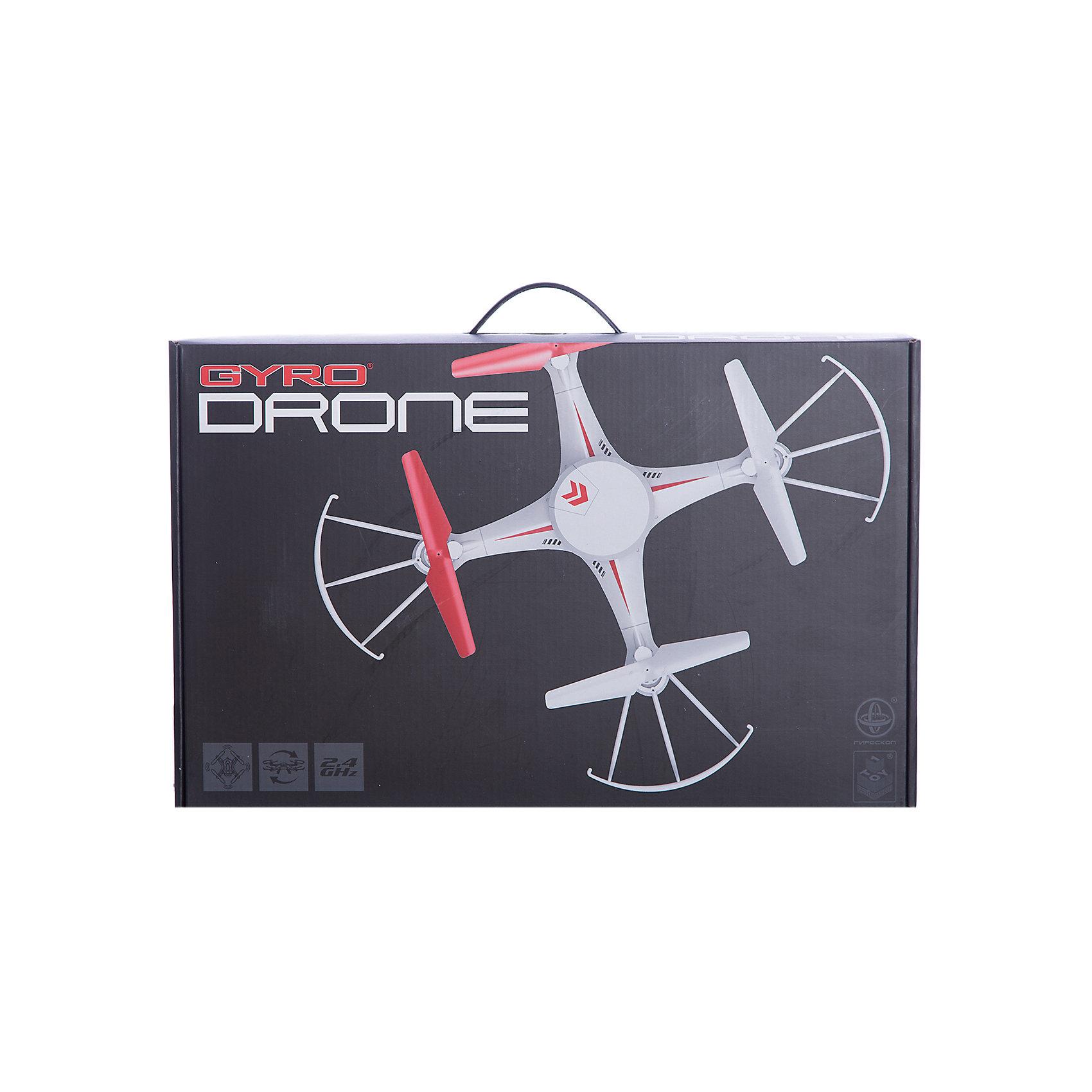 Квадрокоптер GYRO-Drone, 2,4GHz, 4 канала, headless режим, возвращается, 1toyСамолёты и вертолёты<br>Характеристики:<br><br>• Вид игр: сюжетно-ролевые<br>• Пол: для мальчиков<br>• Предназначен: для игр на улице, дома<br>• Материал: пластик, металл<br>• Размер квадрокоптера: 30*30 см<br>• Комплектация: квадрокоптер, джойстик, 4 запасные лопасти<br>• Батарейки для джойстика: 6 шт. типа ААА (в комплекте не предусмотрены)<br>• Предусмотены 2 скоростных режима<br>• Функция автоматического возвращения на старт<br>• Регулировка вращения<br>• Радиус действия: до 80 м<br>• Свободный полет: до 10 минут<br>• Время полной зарядки: до 120 минут<br>• Тип зарядного устройства: USB-кабель<br>• Вес упаковки: 950 г<br>• Размеры упаковки (Г*Ш*В): 10*30*47 см<br>• Упаковка: картонная коробка <br><br>Квадрокоптер GYRO-Drone, 2,4GHz, 4 канала, headless режим, возвращается, 1toy от отечественного торгового бренда предназначен для игр как на улице, так и дома. Игрушечный квадрокоптер представляет собой летательный аппарат, оснащенный четырьмя пропеллерами, управление которым осуществляется за счет джойстика. Дальность действия сигнала составляет до 80 метров, благодаря чему с квадрокоптером будет особенно интересно играть на улице. У игрушки предусмотрены 2 скоростных режима, предусмотрен визуальный тримминг и функция возврата на старт. Светящаяся в темноте платформа делает полеты эффектными в вечернее время. Все детали выполнены из безопасного и прочного пластика, устойчивого к повреждениям. Квадрокоптер GYRO-Drone, 2,4GHz, 4 канала, headless режим, возвращается, 1toy станет прекрасным подарком для детей, увлекающихся моделированием летательных аппаратов!<br><br>Квадрокоптер GYRO-Drone, 2,4GHz, 4 канала, headless режим, возвращается, 1toy можно купить в нашем интернет-магазине.<br><br>Ширина мм: 470<br>Глубина мм: 100<br>Высота мм: 300<br>Вес г: 945<br>Возраст от месяцев: 60<br>Возраст до месяцев: 192<br>Пол: Мужской<br>Возраст: Детский<br>SKU: 5355527
