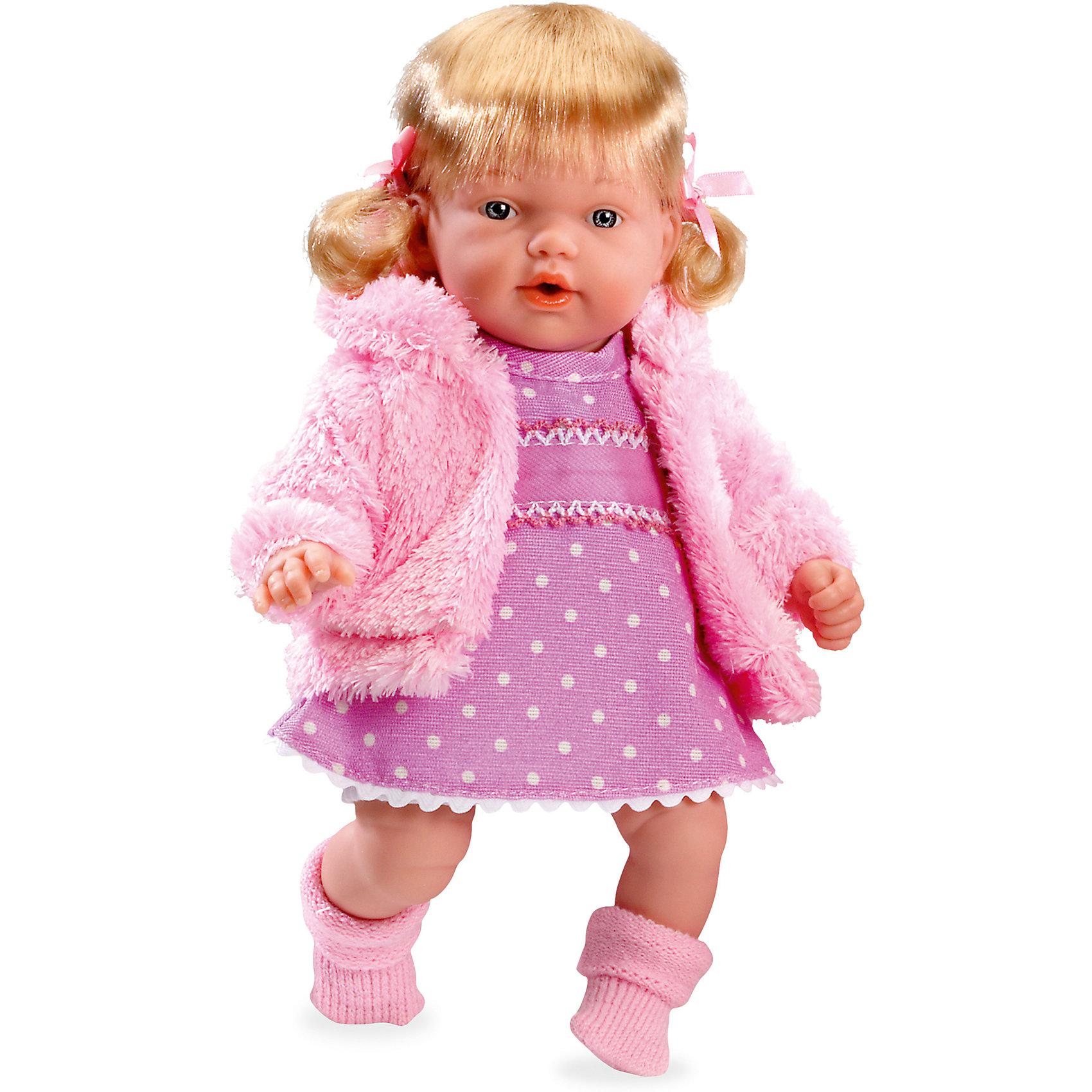 Кукла Elegance, в вязаной курточке, розовом платье, 28 см, смеется, AriasИнтерактивные куклы<br>Характеристики:<br><br>• Вид игр: сюжетно-ролевые<br>• Пол: для девочек<br>• Коллекция: Elegance<br>• Материал: винил, текстиль, нейлон<br>• Длина куклы: 28 см<br>• Комплектация: кукла, соска, платьице, шубка, носочки<br>• Подвижные ручки и ножки <br>• Умеет смеяться<br>• Батарейки: 3 x AG13 / LR44 (предусмотрены в комплекте)<br>• Вес в упаковке: 1 кг 017 г<br>• Размеры упаковки (Г*Ш*В): 35*20*12 см<br>• Упаковка: картонная коробка<br>• Особенности ухода: куклу можно купать, одежда – ручная стирка<br><br>Кукла Elegance, в вязаной курточке, розовом платье, 28 см, смеется, Arias изготовлена известным испанским торговым предприятием Munecas, который специализируется на выпуске кукол и пупсов. Пупсы и куклы Arias с высокой степенью достоверности повторяют облик маленьких детей, благодаря мельчайшим деталям внешнего вида и одежды игрушки выглядят мило и очаровательно. Кукла выполнена из винила, у нее подвижные ручки и ножки, четко прорисованные глаза и брови, курносый носик и пухленькие губки. Светлые густые волосы собраны в два озорных хвостика. Малышка одета в платьице с рисунком в горошек, пушистую розовую шубку, на ножках у нее теплые носочки. При нажатии на животик, кукла начинает смеяться. Кукла Elegance, в вязаной курточке, розовом платье, 28 см, смеется, Arias станет идеальным подарком для девочки к любому празднику.<br><br>Кукла Elegance, в вязаной курточке, розовом платье, 28 см, смеется, Arias можно купить в нашем интернет-магазине.<br><br>Ширина мм: 350<br>Глубина мм: 120<br>Высота мм: 200<br>Вес г: 700<br>Возраст от месяцев: 36<br>Возраст до месяцев: 120<br>Пол: Женский<br>Возраст: Детский<br>SKU: 5355534