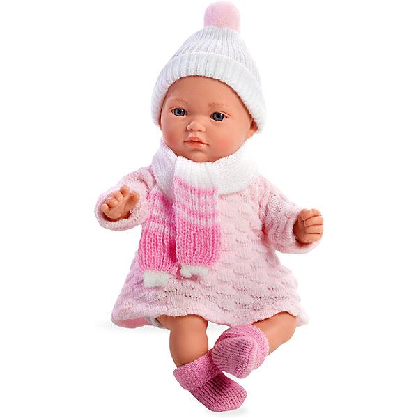 Кукла 5 функций, Elegance, в вязаной шапочке с шарфиком, розовый, 28 см, AriasКуклы<br>Характеристики:<br><br>• Вид игр: сюжетно-ролевые<br>• Пол: для девочек<br>• Коллекция: Elegance<br>• Материал: винил, текстиль<br>• Длина пупса: 28 см<br>• Комплектация: пупс, платьице, носочки, шапочка и шарфик<br>• Подвижные ручки и ножки <br>• Издает различные звуки <br>• Батарейки: 3 x AG13 / LR44 (предусмотрены в комплекте)<br>• Вес в упаковке: 980 г<br>• Размеры упаковки (Г*Ш*В): 19*11,5*34 см<br>• Упаковка: картонная коробка<br>• Особенности ухода: куклу можно купать, одежда – ручная стирка<br><br>Кукла 5 функций, Elegance, в вязаной шапочке с шарфиком, розовый, 28 см, Arias изготовлена известным испанским торговым предприятием Munecas, который специализируется на выпуске кукол и пупсов. Пупсы и куклы Arias с высокой степенью достоверности повторяют облик маленьких детей, благодаря мельчайшим деталям внешнего вида и одежды игрушки выглядят мило и очаровательно. Кукла выполнена из винила, у нее подвижные ручки и ножки, четко прорисованные глаза и брови, курносый носик и пухленькие губки. Малышка одета в вязаное платьице с длинным рукавом, шапочку с помпоном, на ножках у нее теплые носочки, на шее повязан шарфик. При нажатии на животик, кукла издает различные звуки младенца. Кукла 5 функций, Elegance, в вязаной шапочке с шарфиком, розовый, 28 см, Arias станет идеальным подарком для девочки к любому празднику.<br><br>Куклу 5 функций, Elegance, в вязаной шапочке с шарфиком, розовый, 28 см, Arias можно купить в нашем интернет-магазине.<br>Ширина мм: 190; Глубина мм: 340; Высота мм: 115; Вес г: 683; Возраст от месяцев: 36; Возраст до месяцев: 120; Пол: Женский; Возраст: Детский; SKU: 5355535;