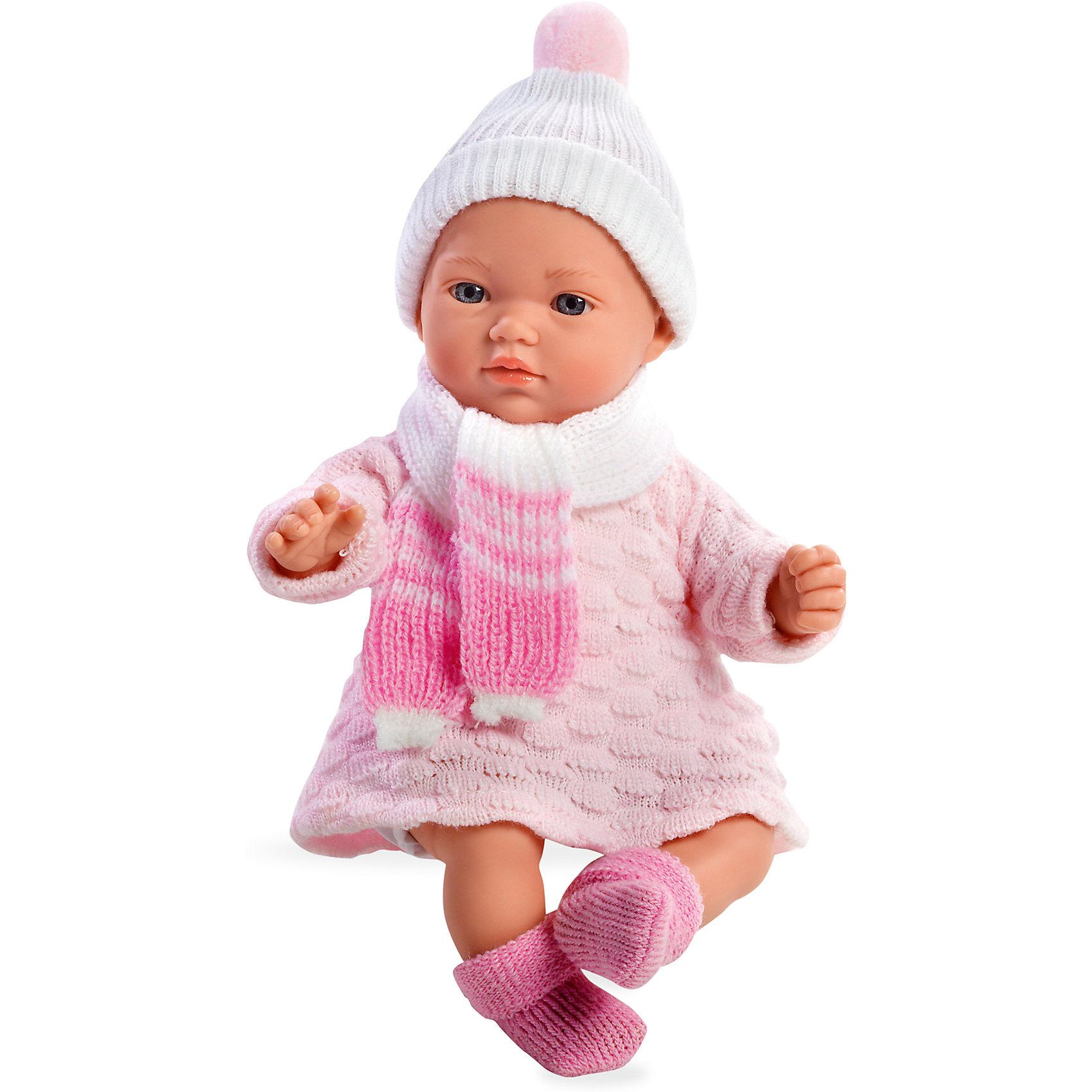 Кукла 5 функций, Elegance, в вязаной шапочке с шарфиком, розовый, 28 см, AriasХарактеристики:<br><br>• Вид игр: сюжетно-ролевые<br>• Пол: для девочек<br>• Коллекция: Elegance<br>• Материал: винил, текстиль<br>• Длина пупса: 28 см<br>• Комплектация: пупс, платьице, носочки, шапочка и шарфик<br>• Подвижные ручки и ножки <br>• Издает различные звуки <br>• Батарейки: 3 x AG13 / LR44 (предусмотрены в комплекте)<br>• Вес в упаковке: 980 г<br>• Размеры упаковки (Г*Ш*В): 19*11,5*34 см<br>• Упаковка: картонная коробка<br>• Особенности ухода: куклу можно купать, одежда – ручная стирка<br><br>Кукла 5 функций, Elegance, в вязаной шапочке с шарфиком, розовый, 28 см, Arias изготовлена известным испанским торговым предприятием Munecas, который специализируется на выпуске кукол и пупсов. Пупсы и куклы Arias с высокой степенью достоверности повторяют облик маленьких детей, благодаря мельчайшим деталям внешнего вида и одежды игрушки выглядят мило и очаровательно. Кукла выполнена из винила, у нее подвижные ручки и ножки, четко прорисованные глаза и брови, курносый носик и пухленькие губки. Малышка одета в вязаное платьице с длинным рукавом, шапочку с помпоном, на ножках у нее теплые носочки, на шее повязан шарфик. При нажатии на животик, кукла издает различные звуки младенца. Кукла 5 функций, Elegance, в вязаной шапочке с шарфиком, розовый, 28 см, Arias станет идеальным подарком для девочки к любому празднику.<br><br>Куклу 5 функций, Elegance, в вязаной шапочке с шарфиком, розовый, 28 см, Arias можно купить в нашем интернет-магазине.<br><br>Ширина мм: 190<br>Глубина мм: 340<br>Высота мм: 115<br>Вес г: 683<br>Возраст от месяцев: 36<br>Возраст до месяцев: 120<br>Пол: Женский<br>Возраст: Детский<br>SKU: 5355535