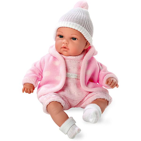 Кукла с функцией плача, Elegance, в флисовой курточке, комбинезоне, шапочке, 33 см, AriasКуклы<br>Характеристики:<br><br>• Вид игр: сюжетно-ролевые<br>• Пол: для девочек<br>• Коллекция: Elegance<br>• Материал: винил, текстиль<br>• Длина куклы: 33 см<br>• Комплектация: кукла, комбинезон, носочки, шапочка, курточка<br>• Подвижные ручки и ножки <br>• Умеет плакать <br>• Батарейки: 3 x AG13 / LR44 (предусмотрены в комплекте)<br>• Вес в упаковке: 1 кг 100 г<br>• Размеры упаковки (Г*Ш*В): 24*13,5*40 см<br>• Упаковка: картонная коробка<br>• Особенности ухода: куклу можно купать, одежда – ручная стирка<br><br>Кукла с функцией плача, Elegance, в флисовой курточке, комбинезоне, шапочке, 33 см, Arias изготовлена известным испанским торговым предприятием Munecas, который специализируется на выпуске кукол и пупсов. Пупсы и куклы Arias с высокой степенью достоверности повторяют облик маленьких детей, благодаря мельчайшим деталям внешнего вида и одежды игрушки выглядят мило и очаровательно. Тело пупса – мягконабивное, подвижные ручки и ножки выполнены из винила. У него четко прорисованные глаза и брови, курносый носик и пухленькие губки. У малышки теплый комплект одежды: вязаный комбинезон, шапочка с помпоном, на ножках теплые носочки и розовая флисовая курточка в крупный белый горох. При нажатии на животик, кукла начинает плакать. Кукла с функцией плача, Elegance, в флисовой курточке, комбинезоне, шапочке, 33 см, Arias станет идеальным подарком для девочки к любому празднику.<br><br>Куклу с функцией плача, Elegance, в флисовой курточке, комбинезоне, шапочке, 33 см, Arias можно купить в нашем интернет-магазине.<br><br>Ширина мм: 420<br>Глубина мм: 130<br>Высота мм: 250<br>Вес г: 1017<br>Возраст от месяцев: 36<br>Возраст до месяцев: 120<br>Пол: Женский<br>Возраст: Детский<br>SKU: 5355537