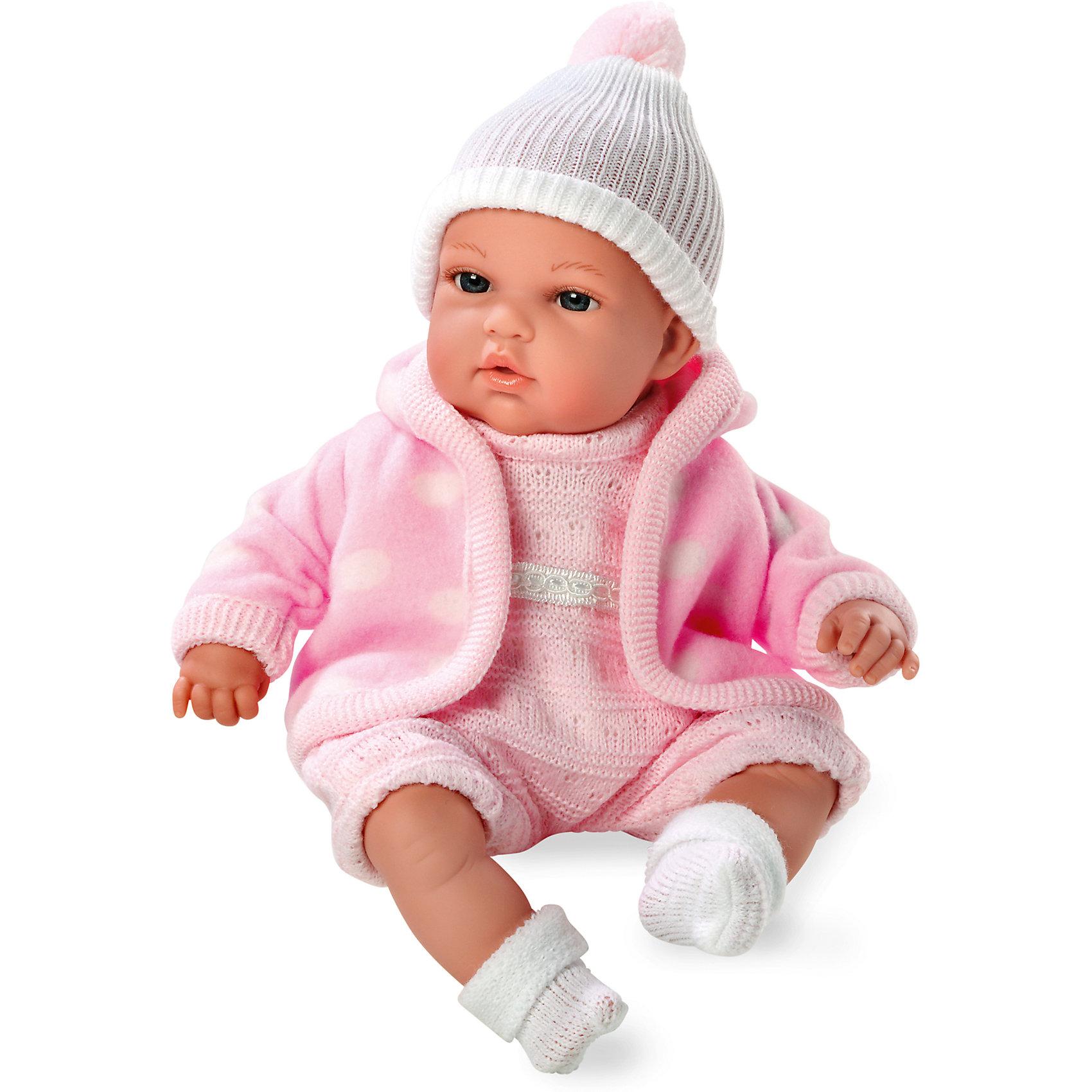 Кукла с функцией плача, Elegance, в флисовой курточке, комбинезоне, шапочке, 33 см, AriasКлассические куклы<br>Характеристики:<br><br>• Вид игр: сюжетно-ролевые<br>• Пол: для девочек<br>• Коллекция: Elegance<br>• Материал: винил, текстиль<br>• Длина куклы: 33 см<br>• Комплектация: кукла, комбинезон, носочки, шапочка, курточка<br>• Подвижные ручки и ножки <br>• Умеет плакать <br>• Батарейки: 3 x AG13 / LR44 (предусмотрены в комплекте)<br>• Вес в упаковке: 1 кг 100 г<br>• Размеры упаковки (Г*Ш*В): 24*13,5*40 см<br>• Упаковка: картонная коробка<br>• Особенности ухода: куклу можно купать, одежда – ручная стирка<br><br>Кукла с функцией плача, Elegance, в флисовой курточке, комбинезоне, шапочке, 33 см, Arias изготовлена известным испанским торговым предприятием Munecas, который специализируется на выпуске кукол и пупсов. Пупсы и куклы Arias с высокой степенью достоверности повторяют облик маленьких детей, благодаря мельчайшим деталям внешнего вида и одежды игрушки выглядят мило и очаровательно. Тело пупса – мягконабивное, подвижные ручки и ножки выполнены из винила. У него четко прорисованные глаза и брови, курносый носик и пухленькие губки. У малышки теплый комплект одежды: вязаный комбинезон, шапочка с помпоном, на ножках теплые носочки и розовая флисовая курточка в крупный белый горох. При нажатии на животик, кукла начинает плакать. Кукла с функцией плача, Elegance, в флисовой курточке, комбинезоне, шапочке, 33 см, Arias станет идеальным подарком для девочки к любому празднику.<br><br>Куклу с функцией плача, Elegance, в флисовой курточке, комбинезоне, шапочке, 33 см, Arias можно купить в нашем интернет-магазине.<br><br>Ширина мм: 420<br>Глубина мм: 130<br>Высота мм: 250<br>Вес г: 1017<br>Возраст от месяцев: 36<br>Возраст до месяцев: 120<br>Пол: Женский<br>Возраст: Детский<br>SKU: 5355537