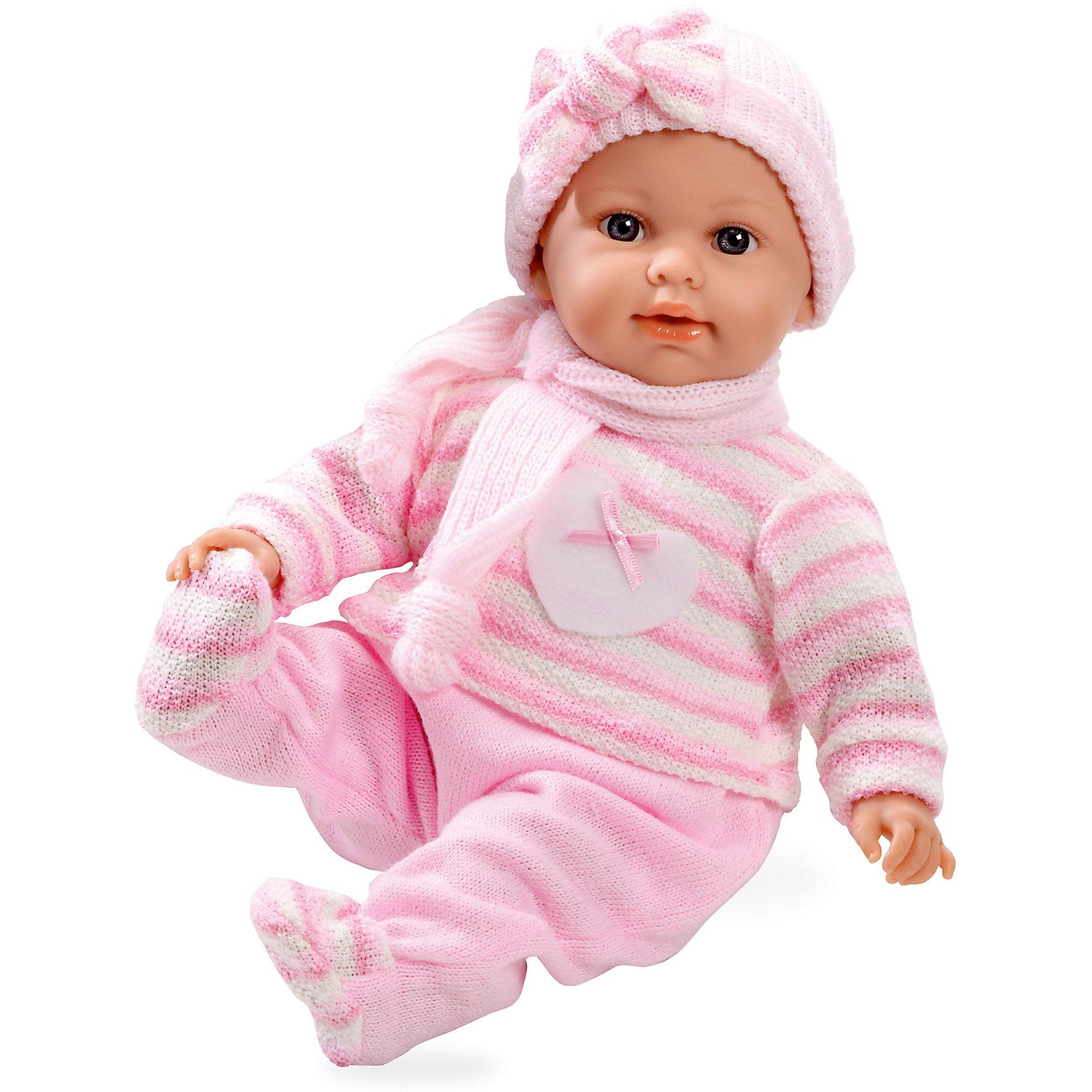 Кукла, с соской, Elegance, в вязаном костюмчике, шапочке, шарфике, розовый, 42 см, плачет,  AriasИнтерактивные куклы<br>Характеристики:<br><br>• Вид игр: сюжетно-ролевые<br>• Пол: для девочек<br>• Коллекция: Elegance<br>• Материал: винил, текстиль<br>• Длина пупса: 42 см<br>• Комплектация: кукла, кофточка, ползунки, шапочка, соска<br>• Подвижные ручки и ножки <br>• Умеет плакать <br>• Батарейки: 3 x AG13 / LR44 (предусмотрены в комплекте)<br>• Вес в упаковке: 1 кг 100 г<br>• Размеры упаковки (Г*Ш*В): 26*17*48 см<br>• Упаковка: картонная коробка<br>• Особенности ухода: куклу можно купать, одежда – ручная стирка<br><br>Кукла, с соской, Elegance, в вязаном костюмчике, шапочке, шарфике, розовый, 42 см, плачет, Arias изготовлена известным испанским торговым предприятием Munecas, который специализируется на выпуске кукол и пупсов. Пупсы и куклы Arias с высокой степенью достоверности повторяют облик маленьких детей, благодаря мельчайшим деталям внешнего вида и одежды игрушки выглядят мило и очаровательно. Тело пупса – мягконабивное, подвижные ручки и ножки выполнены из винила. У него четко прорисованные глаза и брови, курносый носик и пухленькие губки. У малышки теплый комплект одежды: вязаная кофточка с длинными рукавами, штанишки, шапочка и шарфик. При нажатии на животик, пупс начинает плакать, но его легко успокоить, так как в комплекте предусмотрена соска. Куклу, с соской, Elegance, в вязаном костюмчике, шапочке, шарфике, розовый, 42 см, плачет, Arias станет идеальным подарком для девочки к любому празднику.<br><br>Куклу, с соской, Elegance, в вязаном костюмчике, шапочке, шарфике, розовый, 42 см, плачет, Arias можно купить в нашем интернет-магазине.<br><br>Ширина мм: 490<br>Глубина мм: 175<br>Высота мм: 270<br>Вес г: 1667<br>Возраст от месяцев: 36<br>Возраст до месяцев: 120<br>Пол: Женский<br>Возраст: Детский<br>SKU: 5355538