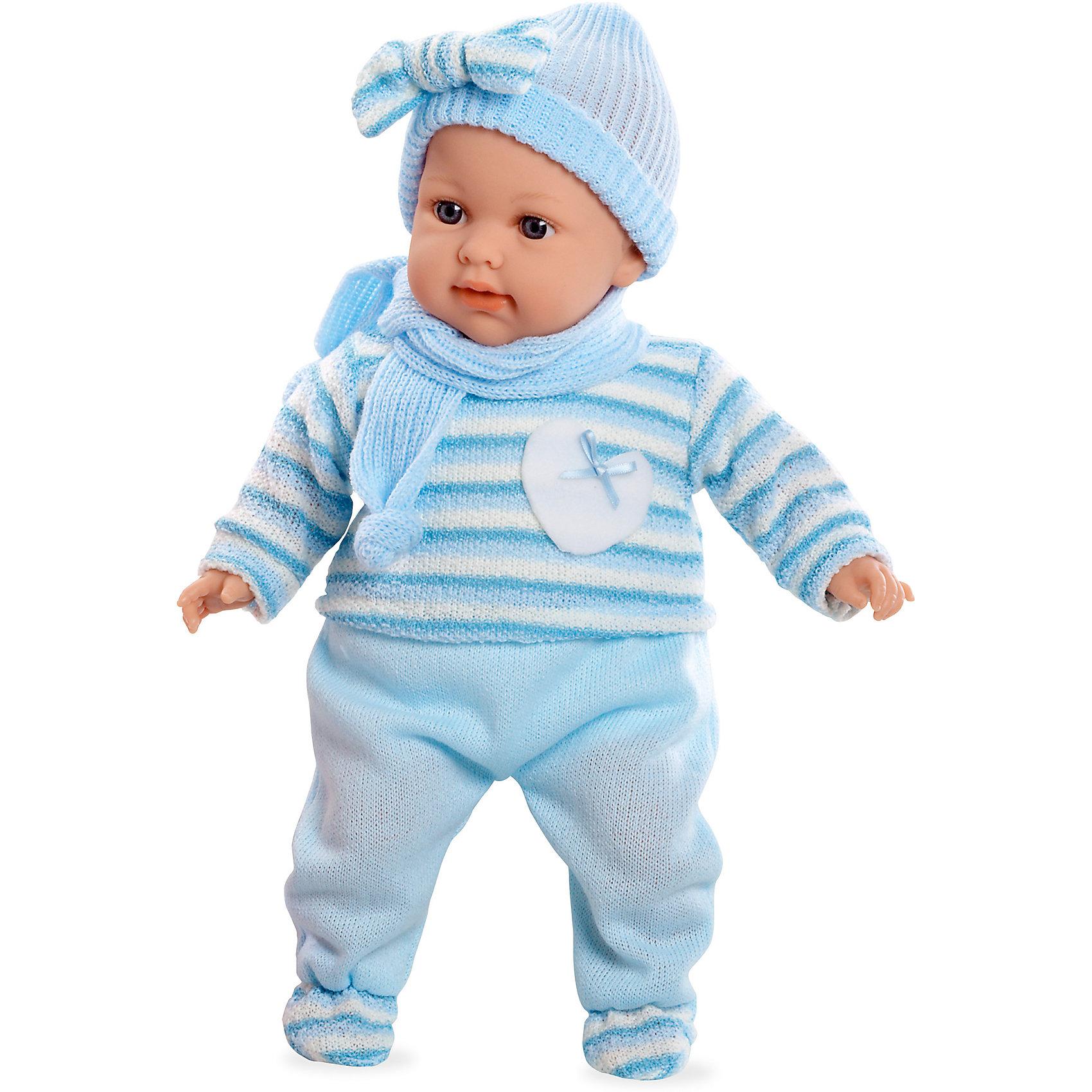 Кукла Elegance, 42 см, с соской, голубом в вязаном костюмчике, плачет, AriasИнтерактивные куклы<br>Характеристики:<br><br>• Вид игр: сюжетно-ролевые<br>• Пол: для девочек<br>• Коллекция: Elegance<br>• Материал: винил, текстиль<br>• Длина пупса: 42 см<br>• Комплектация: кукла, кофточка, ползунки, шапочка, соска<br>• Подвижные ручки и ножки <br>• Умеет плакать <br>• Батарейки: 3 x AG13 / LR44 (предусмотрены в комплекте)<br>• Вес в упаковке: 1 кг 100 г<br>• Размеры упаковки (Г*Ш*В): 26*17*48 см<br>• Упаковка: картонная коробка<br>• Особенности ухода: куклу можно купать, одежда – ручная стирка<br><br>Кукла, с соской, Elegance, в вязаном костюмчике, шапочке, шарфике, голубой, 42 см, плачет, Arias изготовлена известным испанским торговым предприятием Munecas, который специализируется на выпуске кукол и пупсов. Пупсы и куклы Arias с высокой степенью достоверности повторяют облик маленьких детей, благодаря мельчайшим деталям внешнего вида и одежды игрушки выглядят мило и очаровательно. Тело пупса – мягконабивное, подвижные ручки и ножки выполнены из винила. У него четко прорисованные глаза и брови, курносый носик и пухленькие губки. У малышки теплый комплект одежды: вязаная кофточка с длинными рукавами, штанишки, шапочка и шарфик. При нажатии на животик, пупс начинает плакать, но его легко успокоить, так как в комплекте предусмотрена соска. Кукла с соской, Elegance, в вязаном костюмчике, шапочке, шарфике, голубой, 42 см, плачет, Arias станет идеальным подарком для девочки к любому празднику.<br><br>Куклу, с соской, Elegance, в вязаном костюмчике, шапочке, шарфике, голубой, 42 см, плачет, Arias можно купить в нашем интернет-магазине.<br><br>Ширина мм: 480<br>Глубина мм: 160<br>Высота мм: 260<br>Вес г: 1250<br>Возраст от месяцев: 36<br>Возраст до месяцев: 120<br>Пол: Женский<br>Возраст: Детский<br>SKU: 5355539