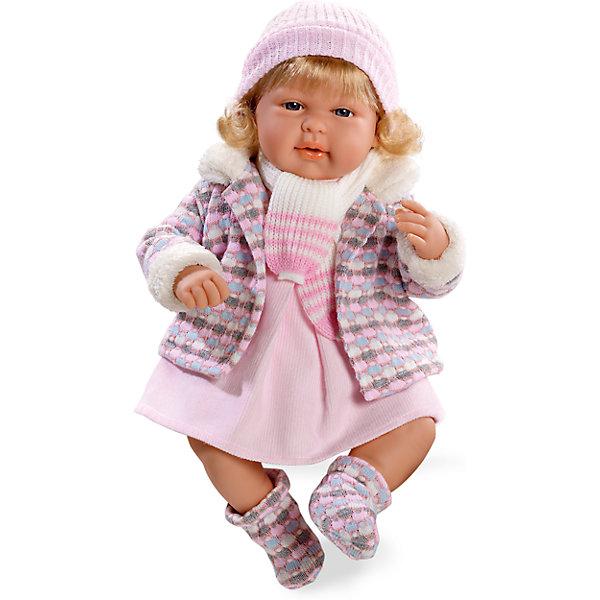 Кукла Elegance Девочка с соской, в теплой курточке, смеется, розовый, 45 см , AriasБренды кукол<br>Характеристики:<br><br>• Вид игр: сюжетно-ролевые<br>• Пол: для девочек<br>• Коллекция: Elegance<br>• Материал: винил, текстиль, нейлон<br>• Длина куклы: 45 см<br>• Комплектация: кукла, платьице, курточка, пинетки, шапочка, шарф, соска<br>• Подвижные ручки и ножки <br>• Умеет смеяться<br>• Батарейки: 3 x AG13 / LR44 (предусмотрены в комплекте)<br>• Вес в упаковке: 1 кг 680 г<br>• Размеры упаковки (Г*Ш*В): 20*20*50 см<br>• Упаковка: картонная коробка<br>• Особенности ухода: куклу можно купать, одежда – ручная стирка<br><br>Кукла Elegance Девочка с соской, в теплой курточке, смеется, розовый, 45 см , Arias изготовлена известным испанским торговым предприятием Munecas, который специализируется на выпуске кукол и пупсов. Пупсы и куклы Arias с высокой степенью достоверности повторяют облик маленьких детей, благодаря мельчайшим деталям внешнего вида и одежды игрушки выглядят мило и очаровательно. Кукла выполнена из винила, у нее подвижные ручки и ножки, четко прорисованные глаза и брови, курносый носик и пухленькие губки. Светлые густые волосы слегка завиты. Малышка одета в розовое платьице, теплую курточку, отделанную мехом, на ножках у нее теплые пинетки в тон курточке, дополняют теплый комплект одежды вязаные шапочка и шарф. При нажатии на животик, кукла начинает смеяться. Кукла Elegance Девочка с соской, в теплой курточке, смеется, розовый, 45 см , Arias идеальным подарком для девочки к любому празднику.<br><br>Куклу Elegance Девочка с соской, в теплой курточке, смеется, розовый, 45 см , Arias можно купить в нашем интернет-магазине.<br><br>Ширина мм: 320<br>Глубина мм: 540<br>Высота мм: 165<br>Вес г: 1563<br>Возраст от месяцев: 36<br>Возраст до месяцев: 120<br>Пол: Женский<br>Возраст: Детский<br>SKU: 5355540