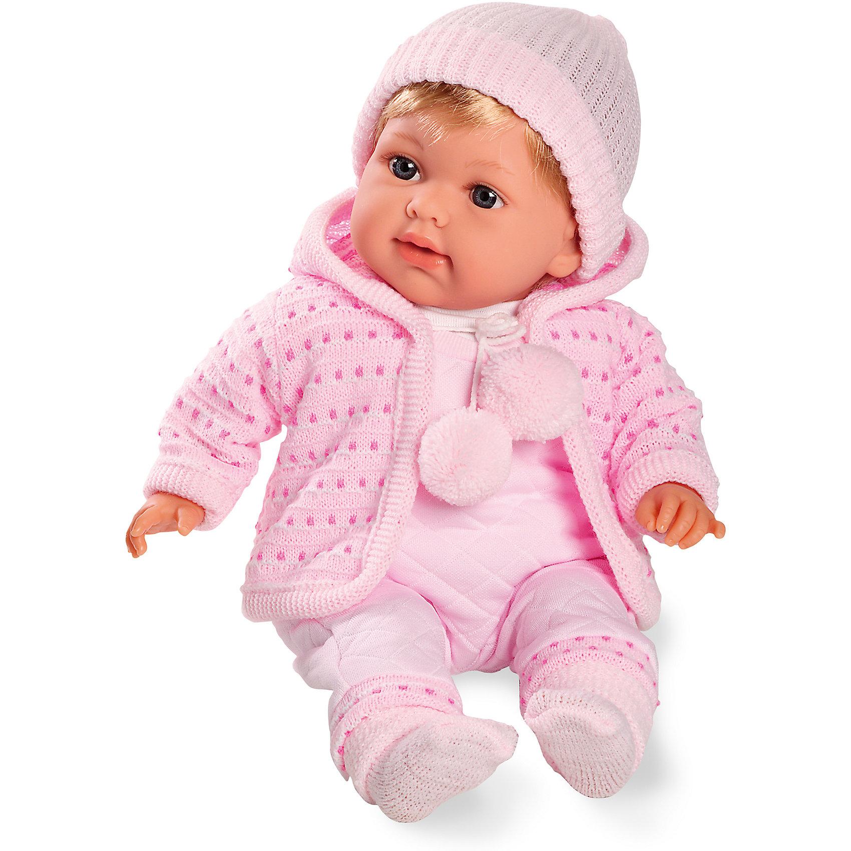 Пупс с соской, в вязаной одежке, 42см, плачет, AriasИнтерактивные куклы<br>Характеристики:<br><br>• Вид игр: сюжетно-ролевые<br>• Пол: для девочек<br>• Коллекция: Elegance<br>• Материал: винил, текстиль, нейлон<br>• Длина куклы: 42 см<br>• Комплектация: кукла, комбинезон, курточка, пинетки, шапочка, <br>• Подвижные ручки и ножки <br>• Умеет плакать<br>• Батарейки: 3 x AG13 / LR44 (предусмотрены в комплекте)<br>• Вес в упаковке: 1 кг 100 г<br>• Размеры упаковки (Г*Ш*В): 20*20*50 см<br>• Упаковка: картонная коробка<br>• Особенности ухода: куклу можно купать, одежда – ручная стирка<br><br>Пупс с соской, в вязаной одежке, 42см, плачет, Arias изготовлен известным испанским торговым предприятием Munecas, который специализируется на выпуске кукол и пупсов. Пупсы и куклы Arias с высокой степенью достоверности повторяют облик маленьких детей, благодаря мельчайшим деталям внешнего вида и одежды игрушки выглядят мило и очаровательно. Кукла выполнена из винила, у нее подвижные ручки и ножки, прямые короткие волосы, четко прорисованные глаза и брови, курносый носик и пухленькие губки. Малышка одета в розовый комбинезон, вязаную теплую курточку с завязками, на ножках у нее теплые пинетки, на голове шапочка. При нажатии на животик, кукла начинает плакать. Пупс с соской, в вязаной одежке, 42см, плачет, Arias идеальным подарком для девочки к любому празднику.<br><br>Пупса с соской, в вязаной одежке, 42см, плачет, Arias можно купить в нашем интернет-магазине.<br><br>Ширина мм: 480<br>Глубина мм: 160<br>Высота мм: 260<br>Вес г: 1367<br>Возраст от месяцев: 36<br>Возраст до месяцев: 120<br>Пол: Женский<br>Возраст: Детский<br>SKU: 5355541