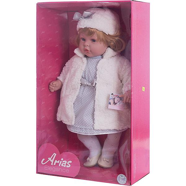 Кукла Elegance в белом платье, пальто и шапочке, 45 см, смеется, AriasКуклы<br>Характеристики:<br><br>• Вид игр: сюжетно-ролевые<br>• Пол: для девочек<br>• Коллекция: Elegance<br>• Материал: винил, текстиль, нейлон<br>• Длина куклы: 45 см<br>• Комплектация: кукла, платье, шубка, шапка, колготки, туфли <br>• Подвижные ручки и ножки <br>• Умеет смеяться<br>• Батарейки: 3 x AG13 / LR44 (предусмотрены в комплекте)<br>• Вес в упаковке: 1 кг 800 г<br>• Размеры упаковки (Г*Ш*В): 32*16,5*54 см<br>• Упаковка: картонная коробка<br>• Особенности ухода: куклу можно купать, одежда – ручная стирка<br><br>Кукла Elegance в белом платье, пальто и шапочке, 45 см, смеется, Arias изготовлен известным испанским торговым предприятием Munecas, который специализируется на выпуске кукол и пупсов. Пупсы и куклы Arias с высокой степенью достоверности повторяют облик маленьких детей, благодаря мельчайшим деталям внешнего вида и одежды игрушки выглядят мило и очаровательно. Кукла выполнена из винила, у нее подвижные ручки и ножки, слегка вьющиеся светлые волосы, четко прорисованные глаза и брови, курносый носик и пухленькие губки. Малышка одета в серое длинное платье в горошек, ажурные колготки, на ножках у нее туфельки. Дополняют образ длинное меховое пальто белого цвета и шапка, украшенная атласным бантиком. При нажатии на животик, кукла начинает смеяться. Кукла Elegance в белом платье, пальто и шапочке, 45 см, смеется, Arias идеальным подарком для девочки к любому празднику.<br><br>Куклу Elegance в белом платье, пальто и шапочке, 45 см, смеется, Arias можно купить в нашем интернет-магазине.<br>Ширина мм: 320; Глубина мм: 540; Высота мм: 165; Вес г: 1950; Возраст от месяцев: 36; Возраст до месяцев: 120; Пол: Женский; Возраст: Детский; SKU: 5355542;