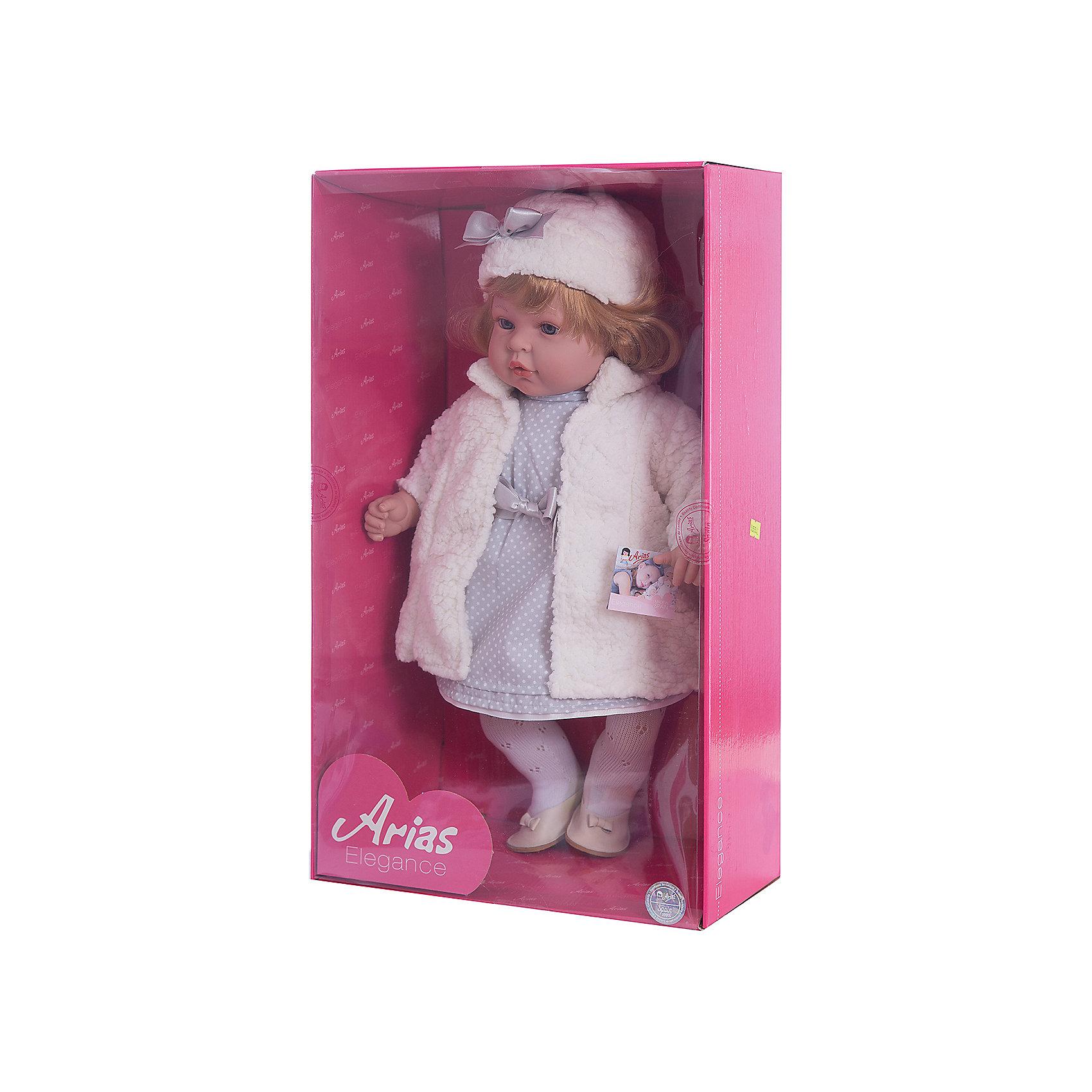 Кукла Elegance в белом платье, пальто и шапочке, 45 см, смеется, AriasБренды кукол<br>Характеристики:<br><br>• Вид игр: сюжетно-ролевые<br>• Пол: для девочек<br>• Коллекция: Elegance<br>• Материал: винил, текстиль, нейлон<br>• Длина куклы: 45 см<br>• Комплектация: кукла, платье, шубка, шапка, колготки, туфли <br>• Подвижные ручки и ножки <br>• Умеет смеяться<br>• Батарейки: 3 x AG13 / LR44 (предусмотрены в комплекте)<br>• Вес в упаковке: 1 кг 800 г<br>• Размеры упаковки (Г*Ш*В): 32*16,5*54 см<br>• Упаковка: картонная коробка<br>• Особенности ухода: куклу можно купать, одежда – ручная стирка<br><br>Кукла Elegance в белом платье, пальто и шапочке, 45 см, смеется, Arias изготовлен известным испанским торговым предприятием Munecas, который специализируется на выпуске кукол и пупсов. Пупсы и куклы Arias с высокой степенью достоверности повторяют облик маленьких детей, благодаря мельчайшим деталям внешнего вида и одежды игрушки выглядят мило и очаровательно. Кукла выполнена из винила, у нее подвижные ручки и ножки, слегка вьющиеся светлые волосы, четко прорисованные глаза и брови, курносый носик и пухленькие губки. Малышка одета в серое длинное платье в горошек, ажурные колготки, на ножках у нее туфельки. Дополняют образ длинное меховое пальто белого цвета и шапка, украшенная атласным бантиком. При нажатии на животик, кукла начинает смеяться. Кукла Elegance в белом платье, пальто и шапочке, 45 см, смеется, Arias идеальным подарком для девочки к любому празднику.<br><br>Куклу Elegance в белом платье, пальто и шапочке, 45 см, смеется, Arias можно купить в нашем интернет-магазине.<br><br>Ширина мм: 320<br>Глубина мм: 540<br>Высота мм: 165<br>Вес г: 1950<br>Возраст от месяцев: 36<br>Возраст до месяцев: 120<br>Пол: Женский<br>Возраст: Детский<br>SKU: 5355542