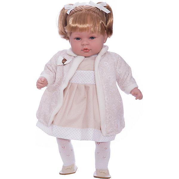 Кукла Elegance в белом платье, пальто и шапочке, 45 см, смеется, AriasКуклы<br>Характеристики:<br><br>• Вид игр: сюжетно-ролевые<br>• Пол: для девочек<br>• Коллекция: Elegance<br>• Материал: винил, текстиль, нейлон<br>• Длина куклы: 45 см<br>• Комплектация: кукла, платье, пальто, шапка, колготки, туфли <br>• Подвижные ручки и ножки <br>• Умеет смеяться<br>• Батарейки: 3 x AG13 / LR44 (предусмотрены в комплекте)<br>• Вес в упаковке: 1 кг 600 г<br>• Размеры упаковки (Г*Ш*В): 32*16,5*54 см<br>• Упаковка: картонная коробка<br>• Особенности ухода: куклу можно купать, одежда – ручная стирка<br><br>Кукла Elegance в белом платье, пальто и шапочке, 45 см, смеется, Arias изготовлен известным испанским торговым предприятием Munecas, который специализируется на выпуске кукол и пупсов. Пупсы и куклы Arias с высокой степенью достоверности повторяют облик маленьких детей, благодаря мельчайшим деталям внешнего вида и одежды игрушки выглядят мило и очаровательно. Кукла выполнена из винила, у нее подвижные ручки и ножки, слегка вьющиеся светлые волосы собраны в два хвостика, четко прорисованные глаза и брови, курносый носик и пухленькие губки. Малышка одета в длинное платье бежевого цвета, ажурные колготки, на ножках у нее туфельки. Дополняют образ длинное легкое пальто и шапка. При нажатии на животик, кукла начинает смеяться. Кукла Elegance в белом платье, пальто и шапочке, 45 см, смеется, Arias идеальным подарком для девочки к любому празднику.<br><br>Куклу Elegance в белом платье, пальто и шапочке, 45 см, смеется, Arias можно купить в нашем интернет-магазине.<br><br>Ширина мм: 320<br>Глубина мм: 170<br>Высота мм: 540<br>Вес г: 1950<br>Возраст от месяцев: 36<br>Возраст до месяцев: 120<br>Пол: Женский<br>Возраст: Детский<br>SKU: 5355543