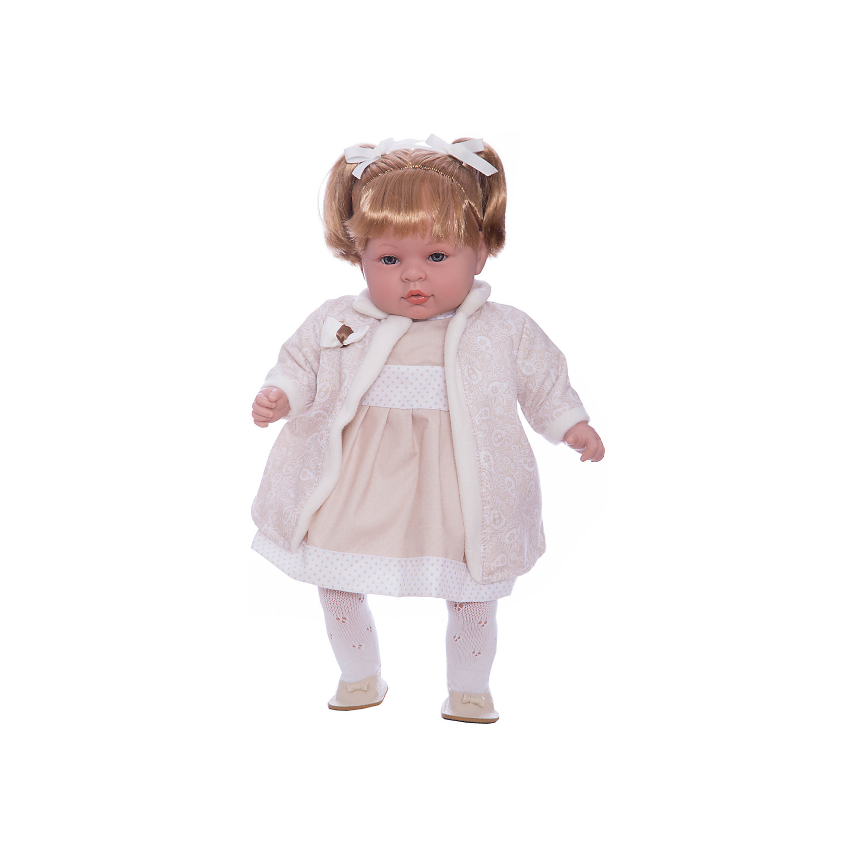 Кукла Elegance в белом платье, пальто и шапочке, 45 см, смеется, AriasИнтерактивные куклы<br>Характеристики:<br><br>• Вид игр: сюжетно-ролевые<br>• Пол: для девочек<br>• Коллекция: Elegance<br>• Материал: винил, текстиль, нейлон<br>• Длина куклы: 45 см<br>• Комплектация: кукла, платье, пальто, шапка, колготки, туфли <br>• Подвижные ручки и ножки <br>• Умеет смеяться<br>• Батарейки: 3 x AG13 / LR44 (предусмотрены в комплекте)<br>• Вес в упаковке: 1 кг 600 г<br>• Размеры упаковки (Г*Ш*В): 32*16,5*54 см<br>• Упаковка: картонная коробка<br>• Особенности ухода: куклу можно купать, одежда – ручная стирка<br><br>Кукла Elegance в белом платье, пальто и шапочке, 45 см, смеется, Arias изготовлен известным испанским торговым предприятием Munecas, который специализируется на выпуске кукол и пупсов. Пупсы и куклы Arias с высокой степенью достоверности повторяют облик маленьких детей, благодаря мельчайшим деталям внешнего вида и одежды игрушки выглядят мило и очаровательно. Кукла выполнена из винила, у нее подвижные ручки и ножки, слегка вьющиеся светлые волосы собраны в два хвостика, четко прорисованные глаза и брови, курносый носик и пухленькие губки. Малышка одета в длинное платье бежевого цвета, ажурные колготки, на ножках у нее туфельки. Дополняют образ длинное легкое пальто и шапка. При нажатии на животик, кукла начинает смеяться. Кукла Elegance в белом платье, пальто и шапочке, 45 см, смеется, Arias идеальным подарком для девочки к любому празднику.<br><br>Куклу Elegance в белом платье, пальто и шапочке, 45 см, смеется, Arias можно купить в нашем интернет-магазине.<br><br>Ширина мм: 320<br>Глубина мм: 170<br>Высота мм: 540<br>Вес г: 1950<br>Возраст от месяцев: 36<br>Возраст до месяцев: 120<br>Пол: Женский<br>Возраст: Детский<br>SKU: 5355543