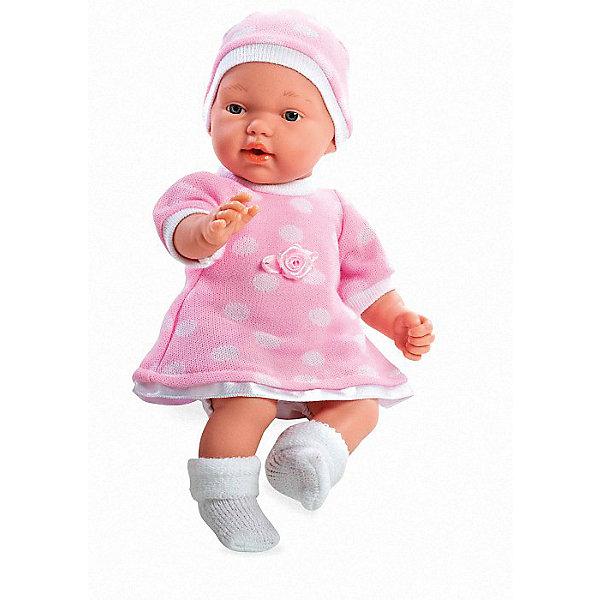 Кукла в розовом платье и шапочке, с соской, плачет, 28см, AriasКуклы<br>Характеристики:<br><br>• Вид игр: сюжетно-ролевые<br>• Пол: для девочек<br>• Коллекция: Elegance<br>• Материал: винил, текстиль<br>• Длина пупса: 28 см<br>• Комплектация: кукла, платье, пинетки, шапочка, соска<br>• Подвижные ручки и ножки <br>• Умеет плакать <br>• Батарейки: 3 x AG13 / LR44 (предусмотрены в комплекте)<br>• Вес в упаковке: 900 г<br>• Размеры упаковки (Г*Ш*В): 21*12*36 см<br>• Упаковка: картонная коробка<br>• Особенности ухода: куклу можно купать, одежда – ручная стирка<br><br>Кукла в розовом платье и шапочке, с соской, плачет, 28см, Arias изготовлена известным испанским торговым предприятием Munecas, который специализируется на выпуске кукол и пупсов. Пупсы и куклы Arias с высокой степенью достоверности повторяют облик маленьких детей, благодаря мельчайшим деталям внешнего вида и одежды игрушки выглядят мило и очаровательно. Тело куклы – мягконабивное, подвижные ручки и ножки выполнены из винила. У него четко прорисованные глаза и брови, курносый носик и пухленькие губки. У малышки вязаное теплое платье, пинетки и шапочка. При нажатии на животик, кукла начинает плакать, но ее легко успокоить, так как в комплекте предусмотрена соска. Кукла в розовом платье и шапочке, с соской, плачет, 28см, Arias станет идеальным подарком для девочки к любому празднику.<br><br>Куклу в розовом платье и шапочке, с соской, плачет, 28см, Arias можно купить в нашем интернет-магазине.<br><br>Ширина мм: 355<br>Глубина мм: 120<br>Высота мм: 205<br>Вес г: 667<br>Возраст от месяцев: 36<br>Возраст до месяцев: 120<br>Пол: Женский<br>Возраст: Детский<br>SKU: 5355548