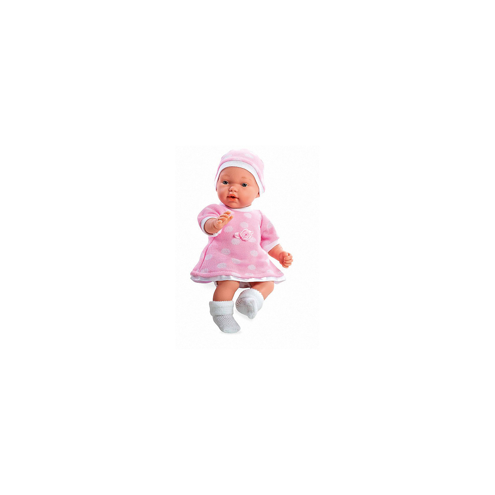 Кукла в розовом платье и шапочке, с соской, плачет, 28см, AriasИнтерактивные куклы<br>Характеристики:<br><br>• Вид игр: сюжетно-ролевые<br>• Пол: для девочек<br>• Коллекция: Elegance<br>• Материал: винил, текстиль<br>• Длина пупса: 28 см<br>• Комплектация: кукла, платье, пинетки, шапочка, соска<br>• Подвижные ручки и ножки <br>• Умеет плакать <br>• Батарейки: 3 x AG13 / LR44 (предусмотрены в комплекте)<br>• Вес в упаковке: 900 г<br>• Размеры упаковки (Г*Ш*В): 21*12*36 см<br>• Упаковка: картонная коробка<br>• Особенности ухода: куклу можно купать, одежда – ручная стирка<br><br>Кукла в розовом платье и шапочке, с соской, плачет, 28см, Arias изготовлена известным испанским торговым предприятием Munecas, который специализируется на выпуске кукол и пупсов. Пупсы и куклы Arias с высокой степенью достоверности повторяют облик маленьких детей, благодаря мельчайшим деталям внешнего вида и одежды игрушки выглядят мило и очаровательно. Тело куклы – мягконабивное, подвижные ручки и ножки выполнены из винила. У него четко прорисованные глаза и брови, курносый носик и пухленькие губки. У малышки вязаное теплое платье, пинетки и шапочка. При нажатии на животик, кукла начинает плакать, но ее легко успокоить, так как в комплекте предусмотрена соска. Кукла в розовом платье и шапочке, с соской, плачет, 28см, Arias станет идеальным подарком для девочки к любому празднику.<br><br>Куклу в розовом платье и шапочке, с соской, плачет, 28см, Arias можно купить в нашем интернет-магазине.<br><br>Ширина мм: 355<br>Глубина мм: 120<br>Высота мм: 205<br>Вес г: 667<br>Возраст от месяцев: 36<br>Возраст до месяцев: 120<br>Пол: Женский<br>Возраст: Детский<br>SKU: 5355548